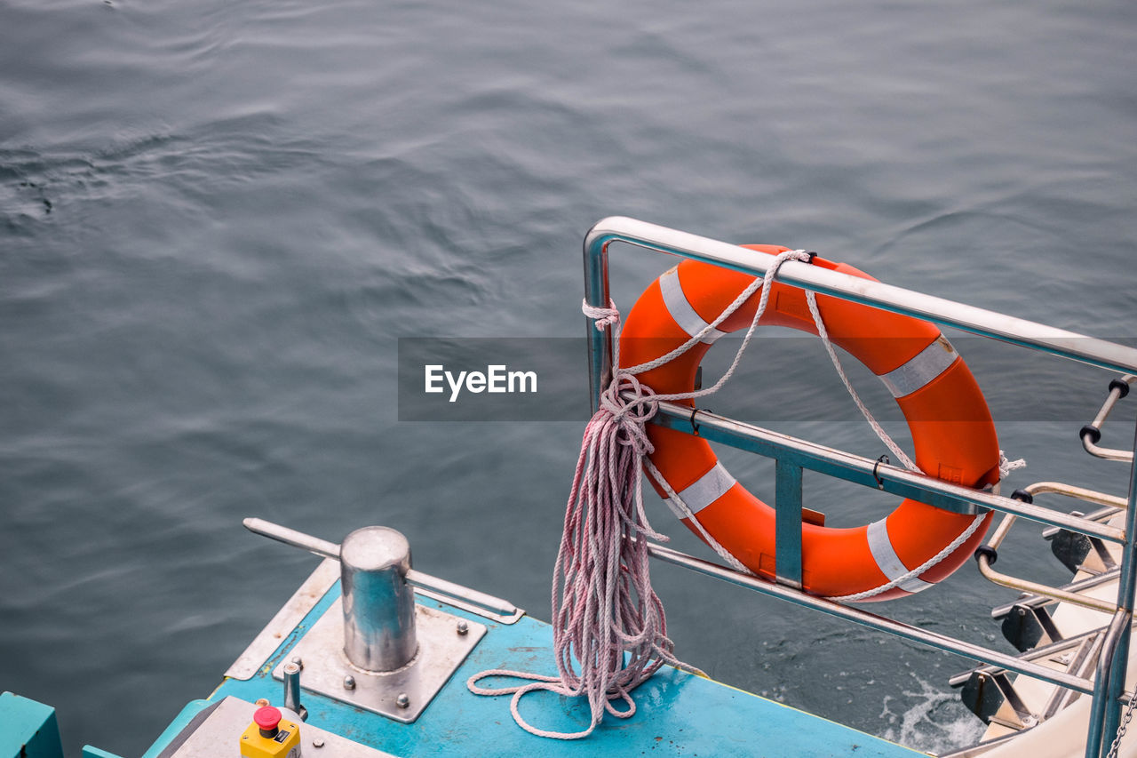 High angle view of lifebelt on boat
