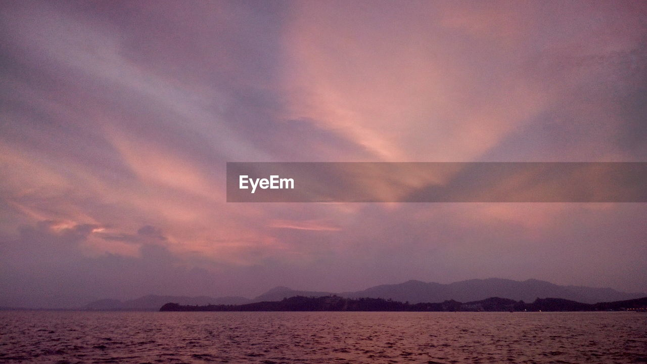sunset, sky, beauty in nature, nature, scenics, tranquility, tranquil scene, no people, cloud - sky, landscape, sea, water, outdoors, mountain, day