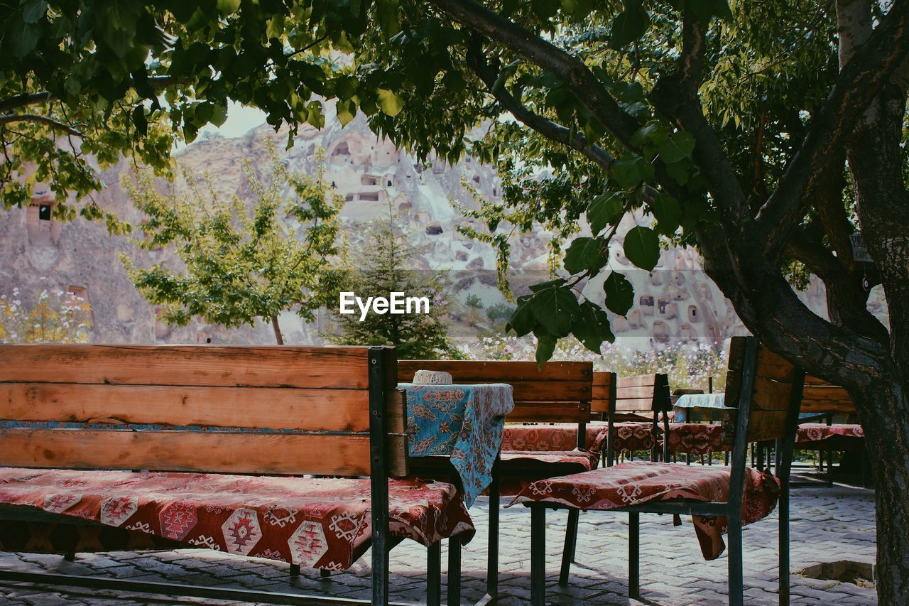 Empty chairs and table against trees in park
