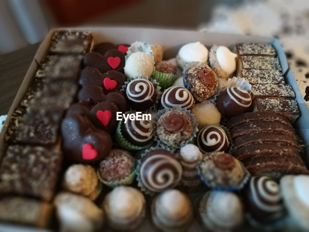 High angle view of desserts in box