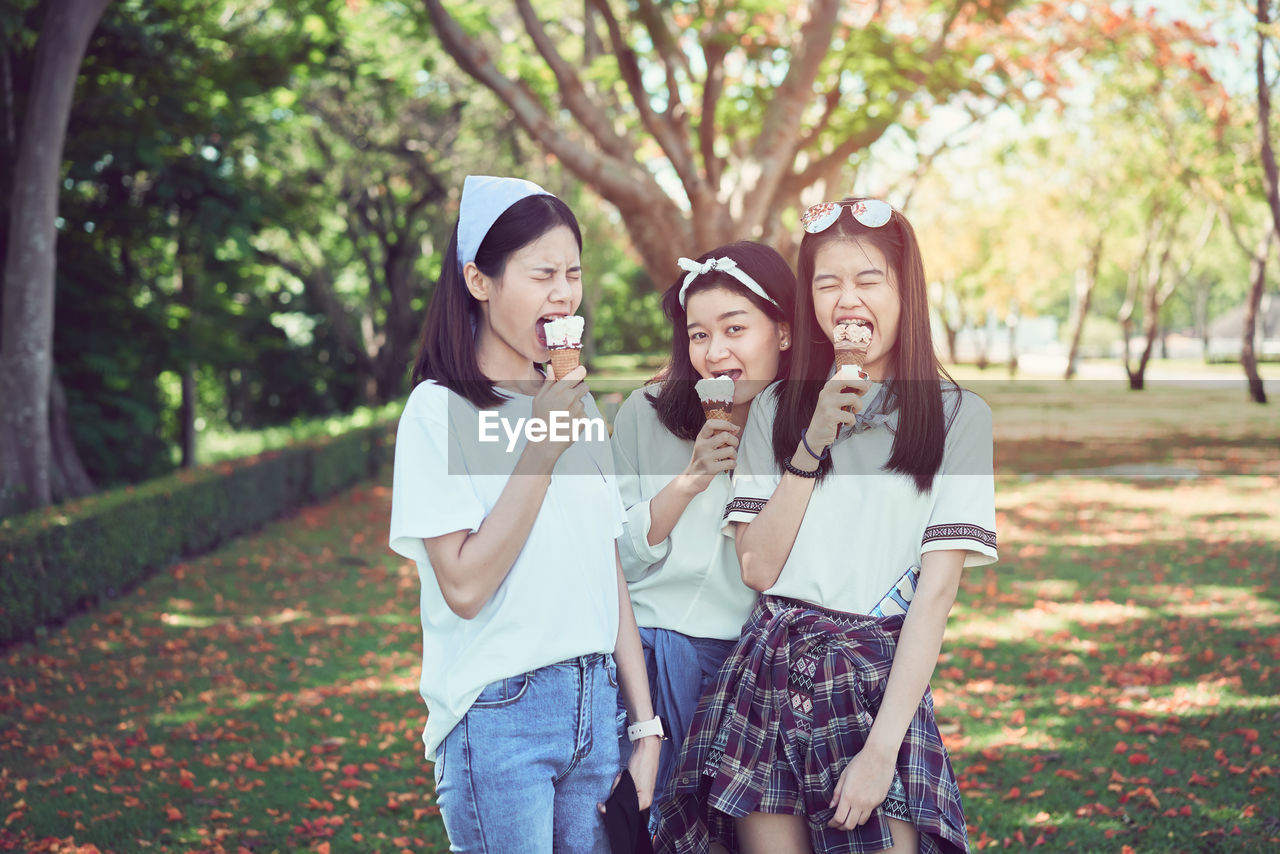 Portrait Of Young Woman With Friends Eating Ice Creams At Park