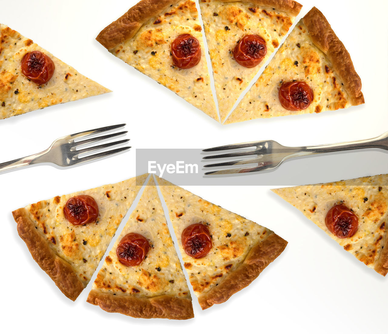 Directly Above Shot Of Pizza Slices Over White Background