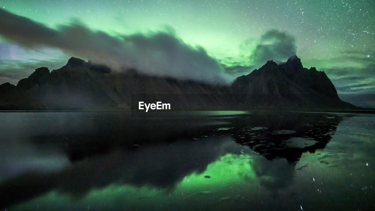 Aurora at vestrahorn in southeast iceland