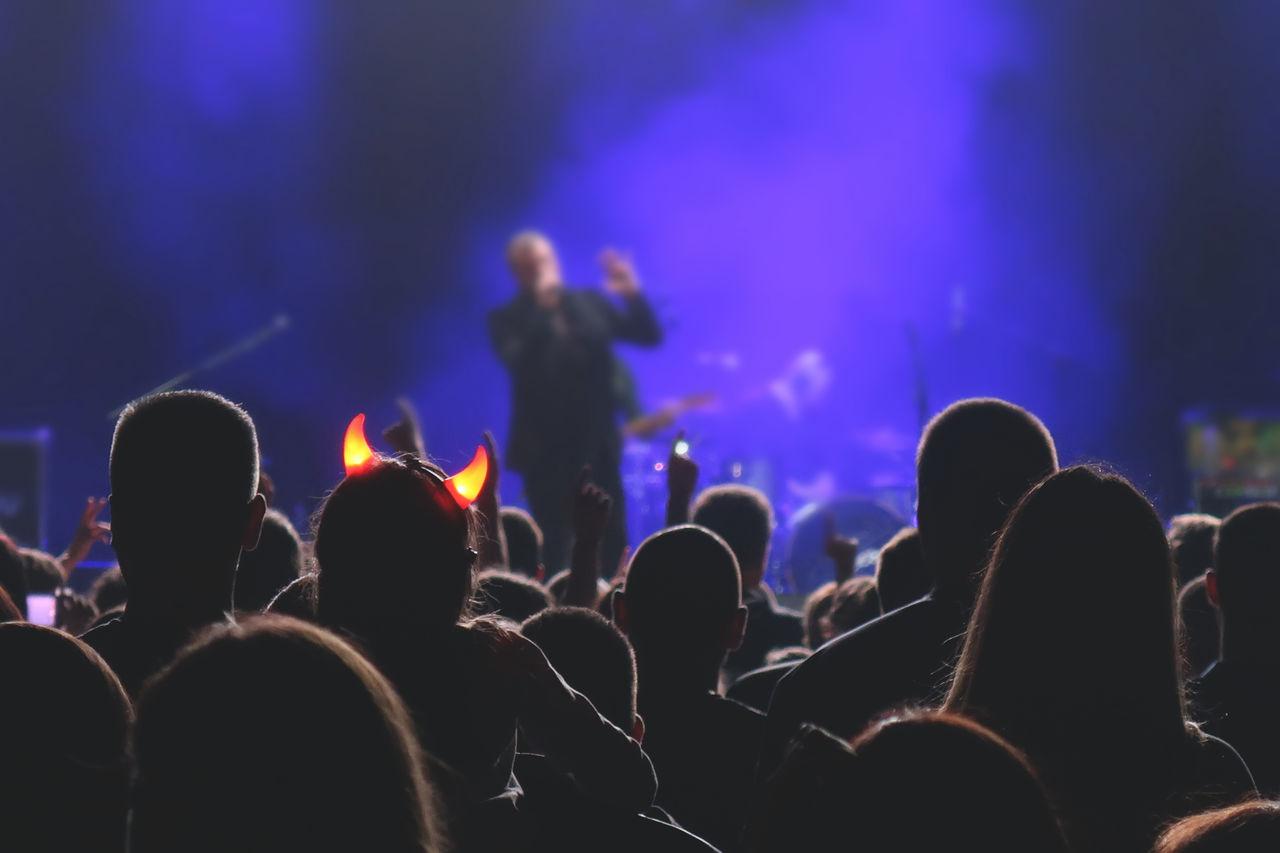 Rear View Of People Enjoying Music Concert