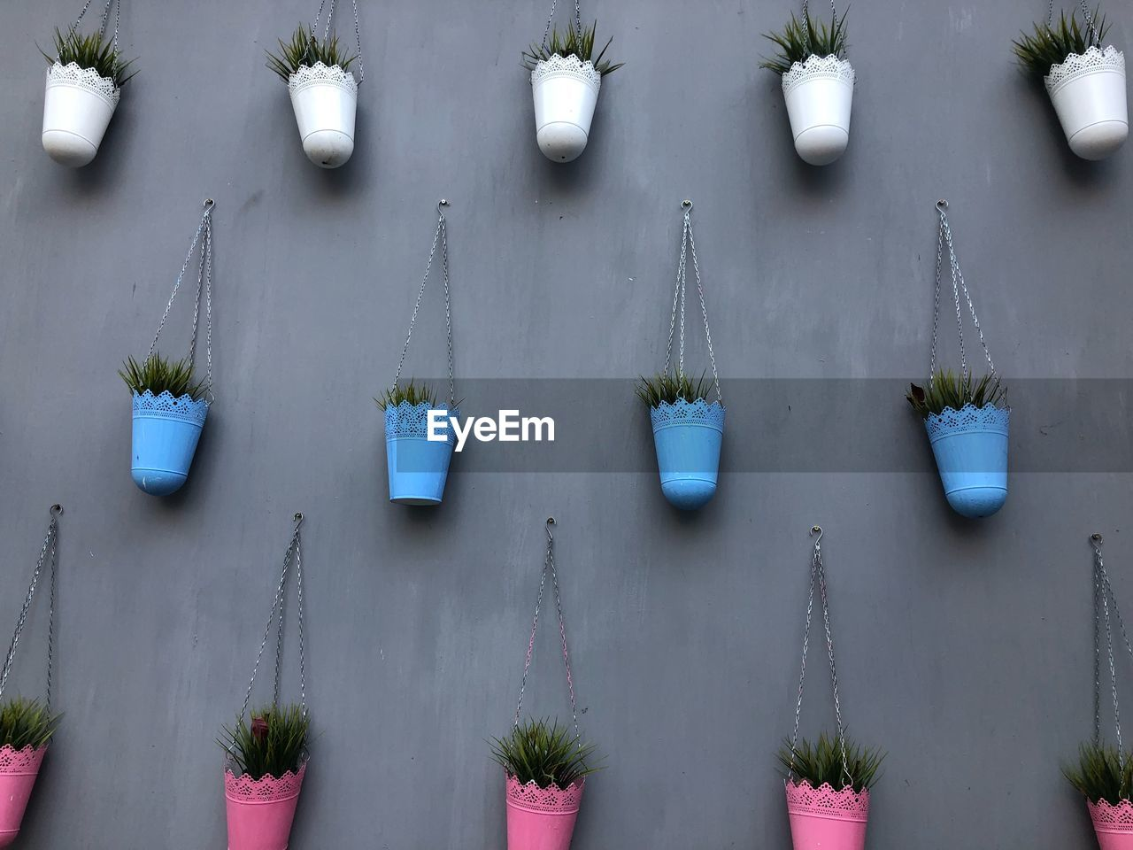 side by side, plant, in a row, no people, growth, day, nature, hanging, potted plant, architecture, outdoors, built structure, repetition, green color, wall - building feature, flowering plant, flower, freshness, decoration, building exterior, flower pot