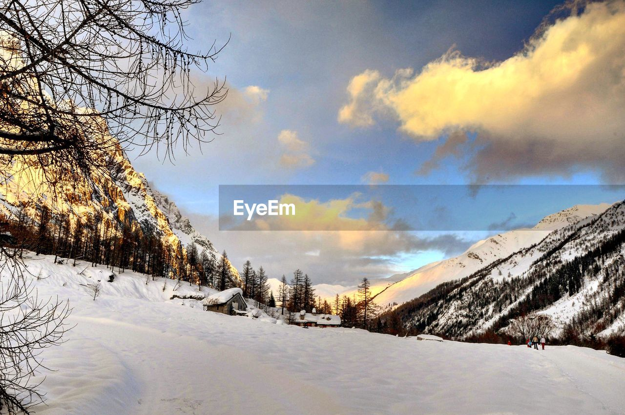 winter, cold temperature, snow, sky, tree, beauty in nature, cloud - sky, scenics - nature, tranquility, tranquil scene, plant, nature, environment, no people, covering, bare tree, landscape, white color, non-urban scene, outdoors, snowcapped mountain