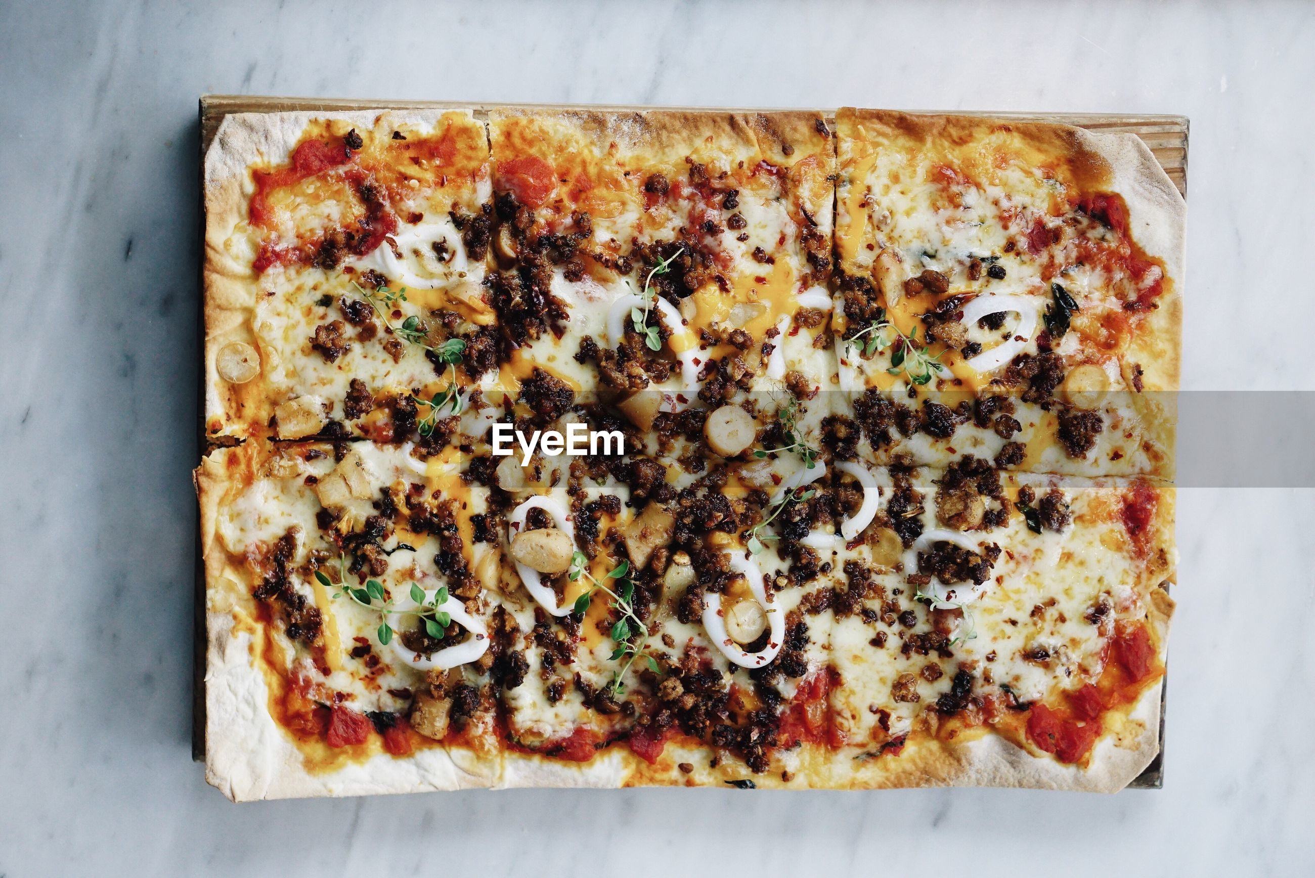 Directly above shot of pizza on table