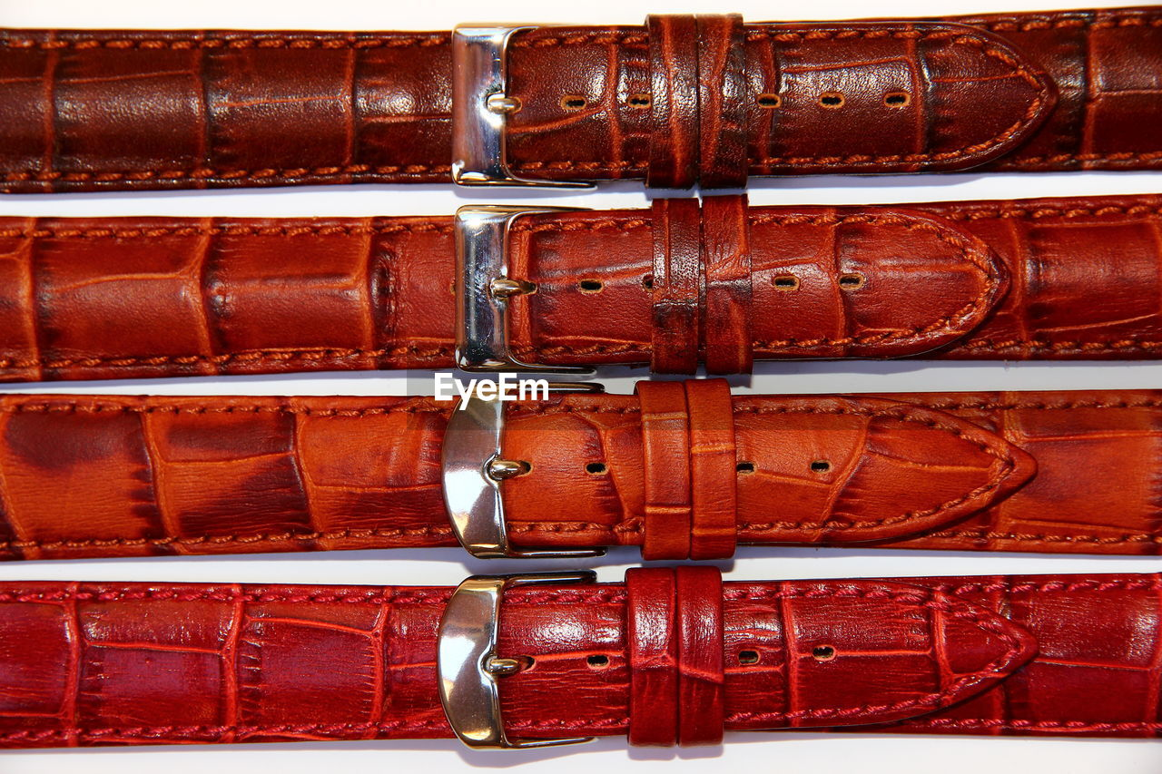 Full frame shot of brown belts