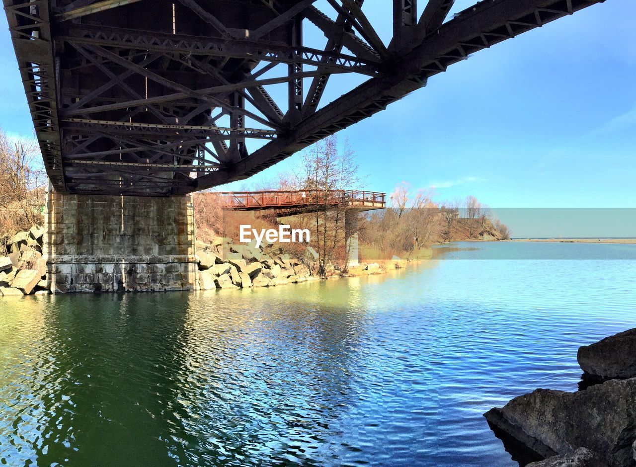 Bridge river against blue sky