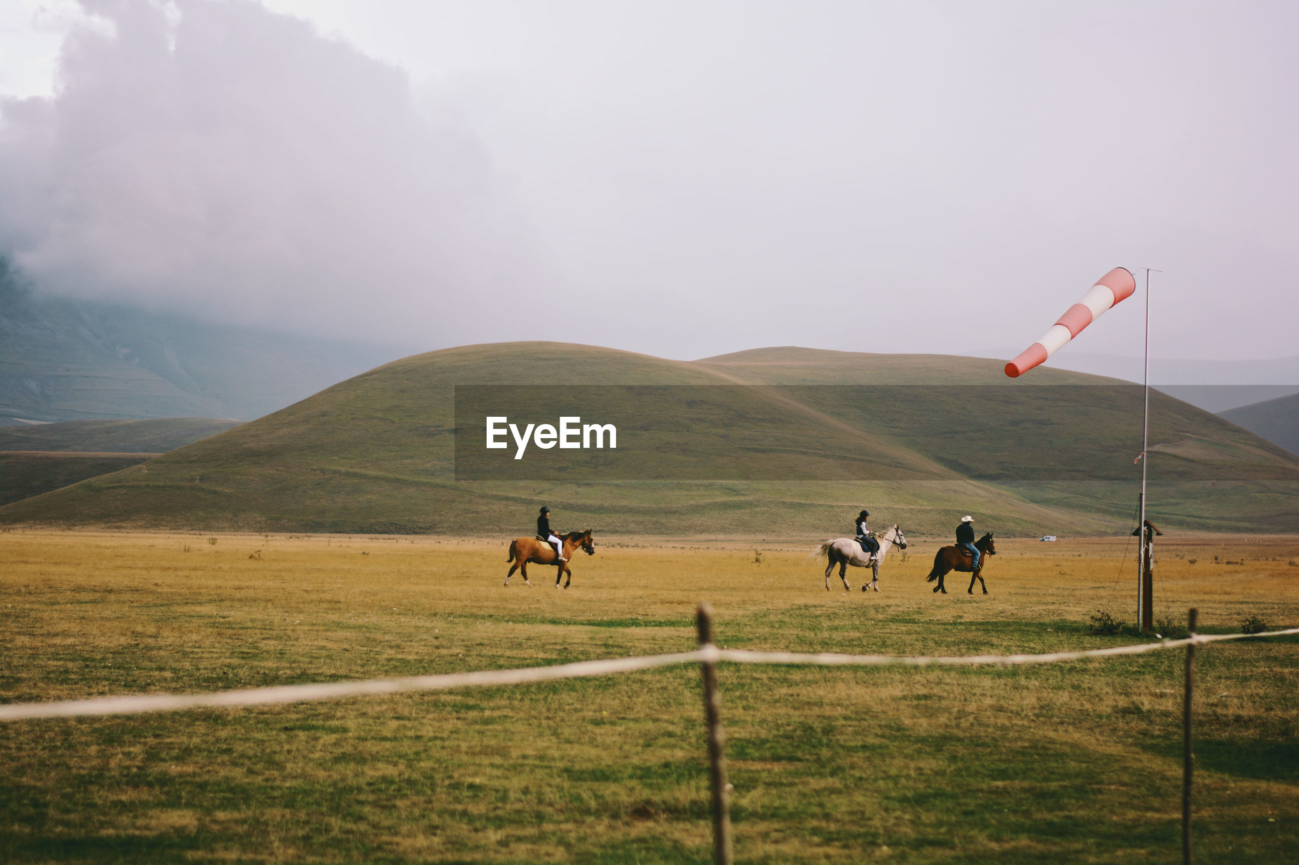 People riding horses in pasture