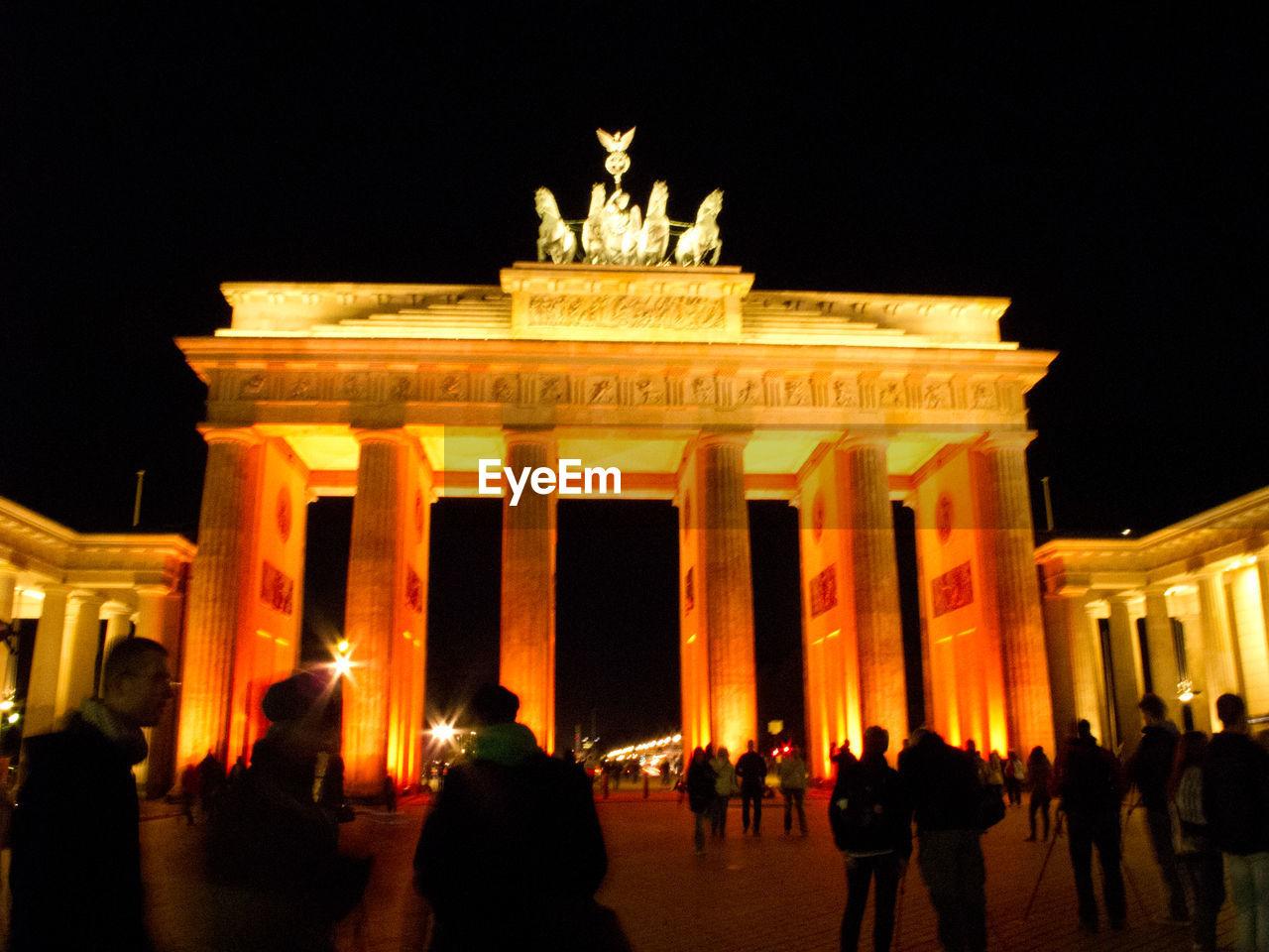 Exterior of Brandenburg Gate at night