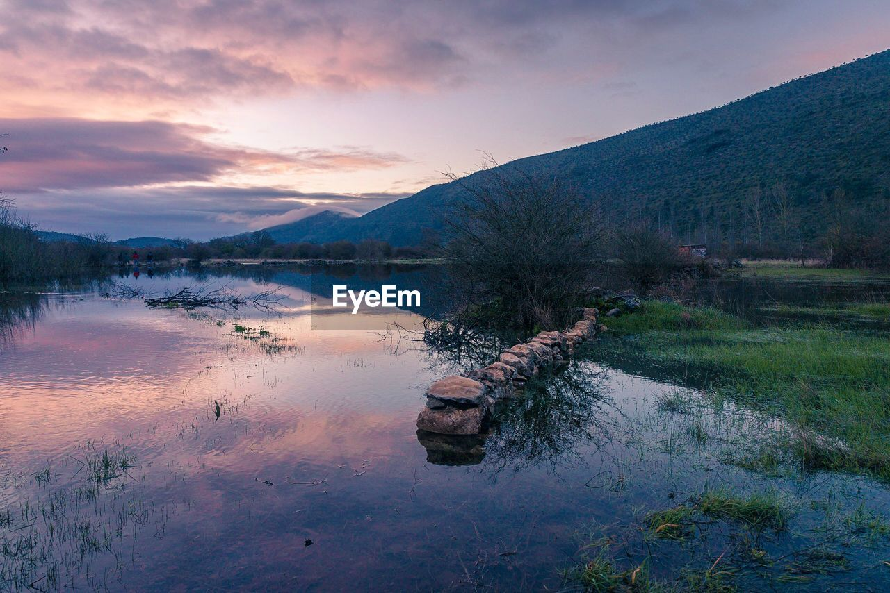 water, sky, cloud - sky, reflection, tranquility, scenics - nature, lake, tranquil scene, beauty in nature, mountain, sunset, nature, non-urban scene, no people, plant, waterfront, idyllic, outdoors, mountain range