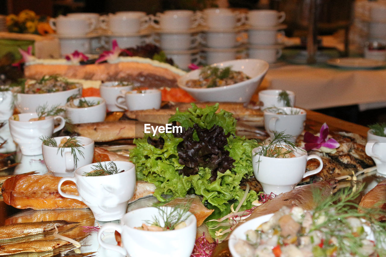 High angle view of buffet in restaurant
