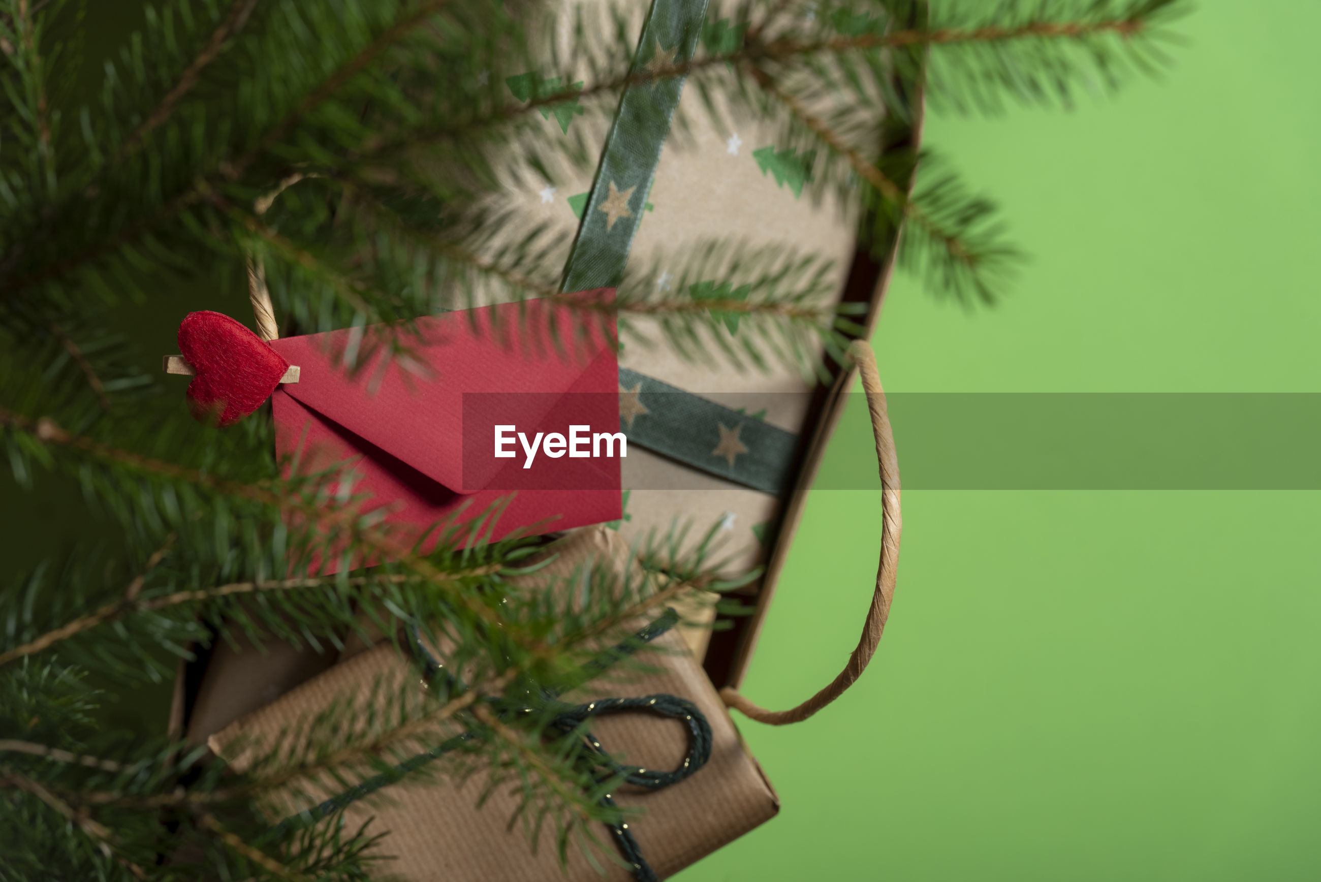 Directly above shot of christmas presents in paper bag on green background