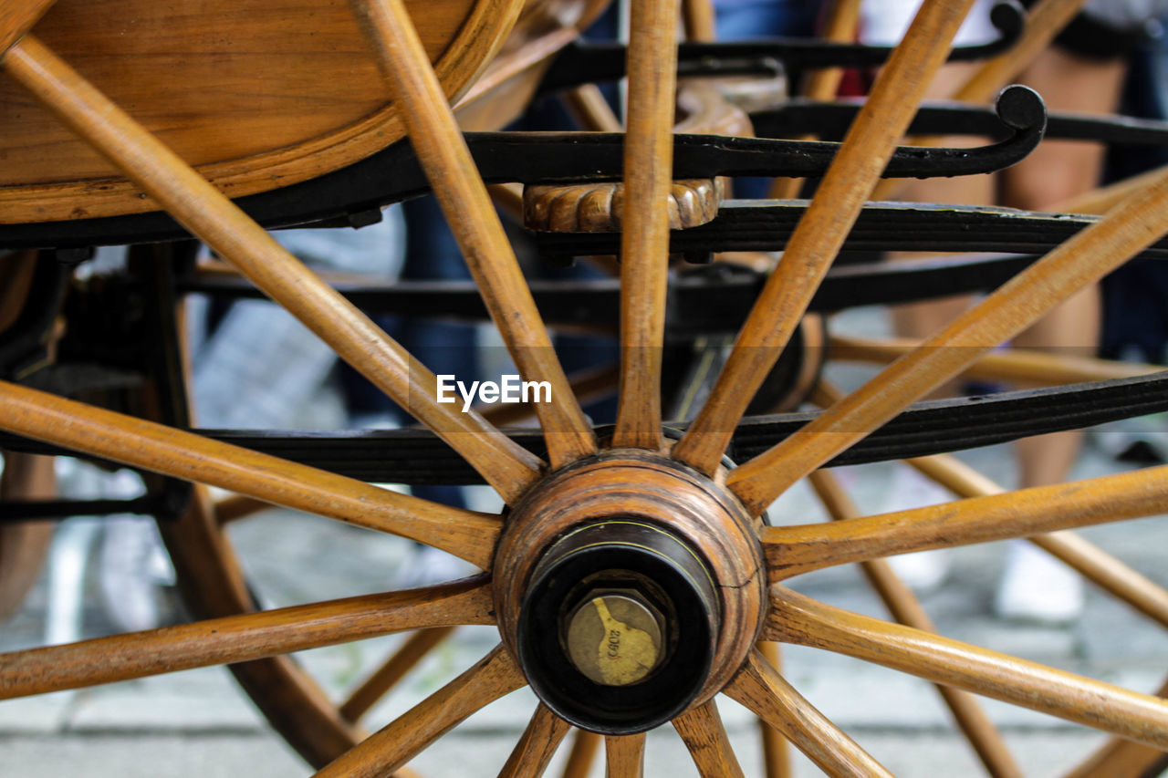 wood - material, no people, wheel, close-up, pattern, shape, design, focus on foreground, geometric shape, day, circle, wagon wheel, indoors, transportation, metal, selective focus, full frame, creativity
