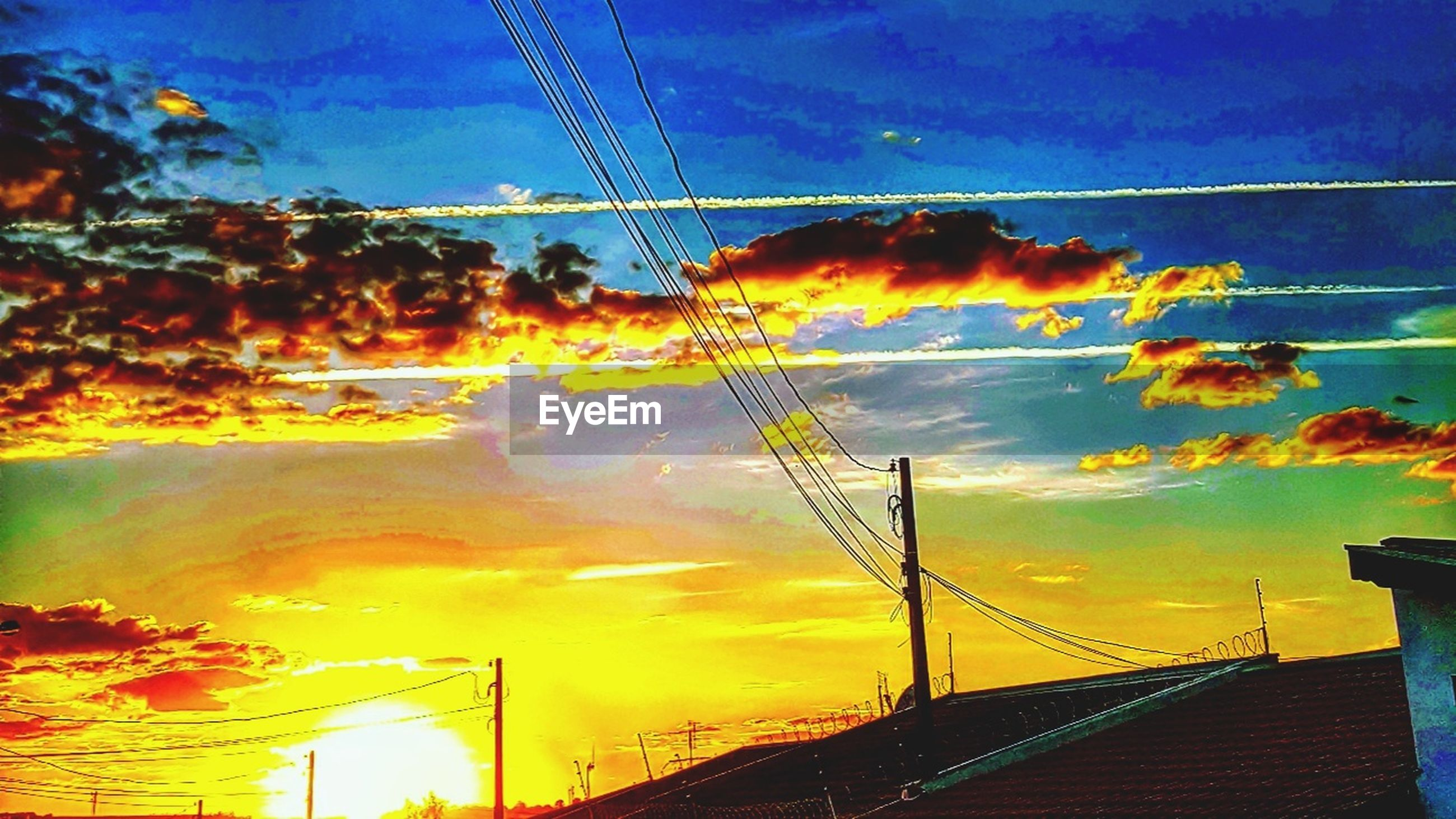 cable, sky, cloud - sky, connection, sunset, power line, power supply, no people, electricity pylon, low angle view, silhouette, outdoors, built structure, nature, building exterior, telephone line, electricity, technology, architecture, scenics, beauty in nature, day