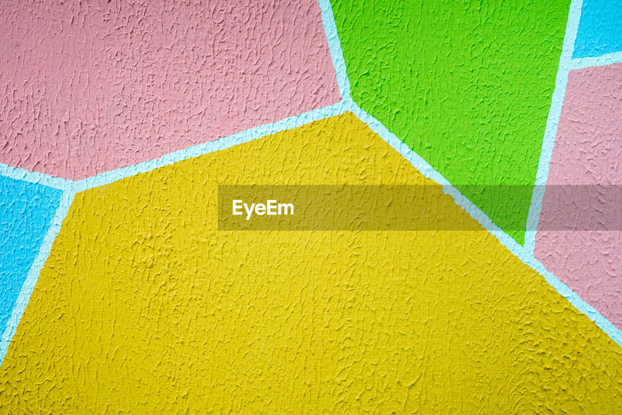 multi colored, yellow, no people, wall - building feature, full frame, backgrounds, close-up, art and craft, variation, architecture, creativity, built structure, craft, pattern, choice, vibrant color, copy space, textured, green color, day, brick