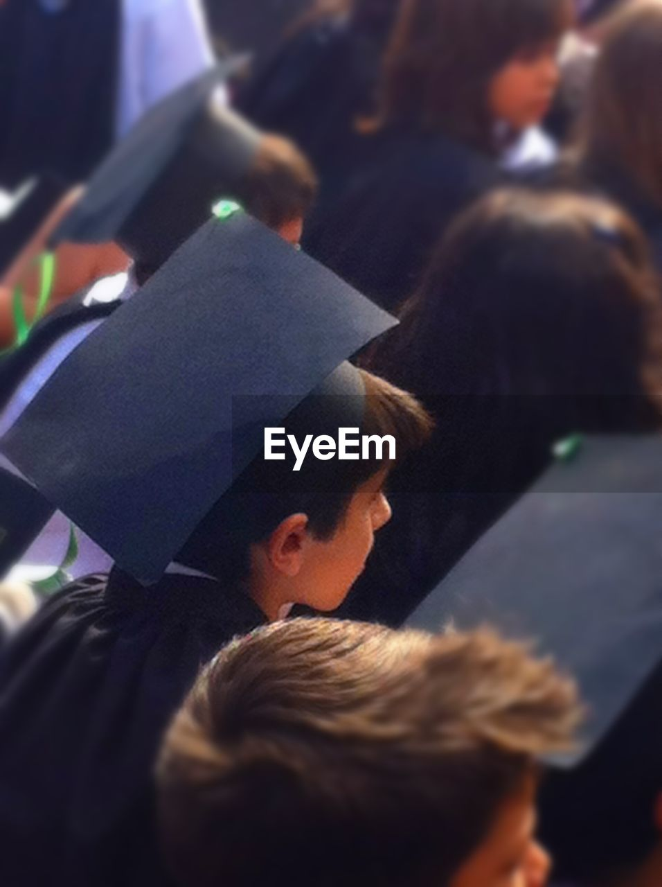 High angle view of students during graduation ceremony in school