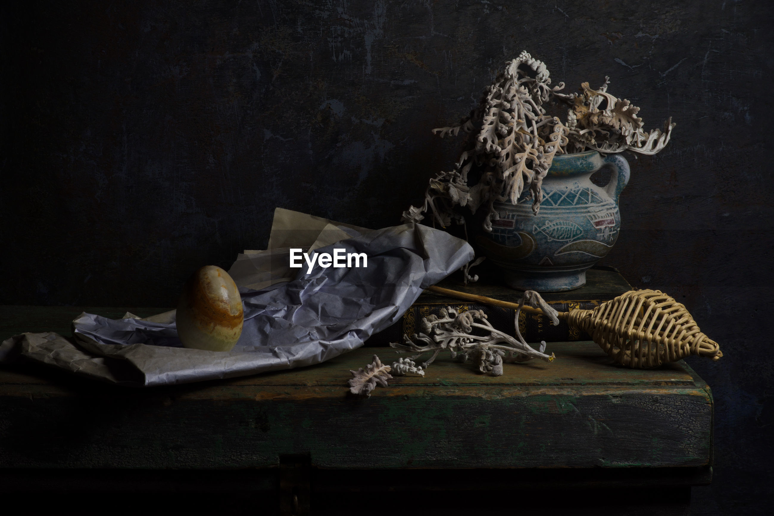 Various objects on table in darkroom