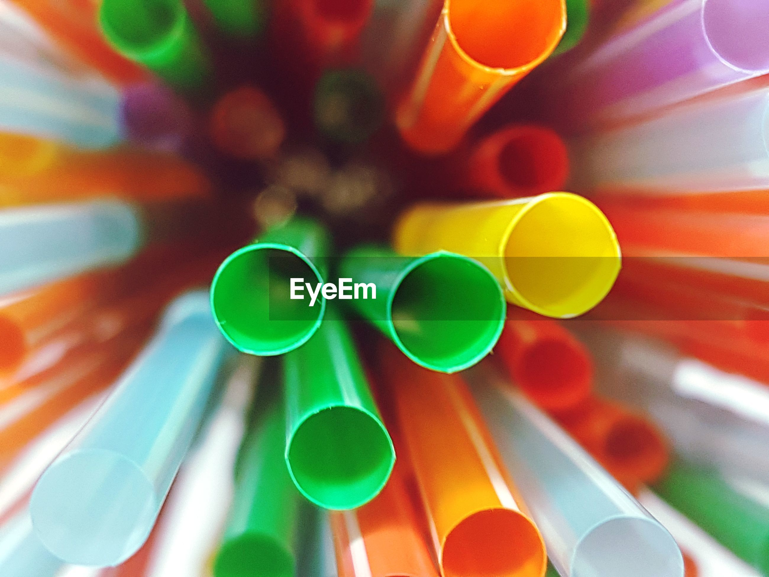 Directly above shot of multi colored drinking straws