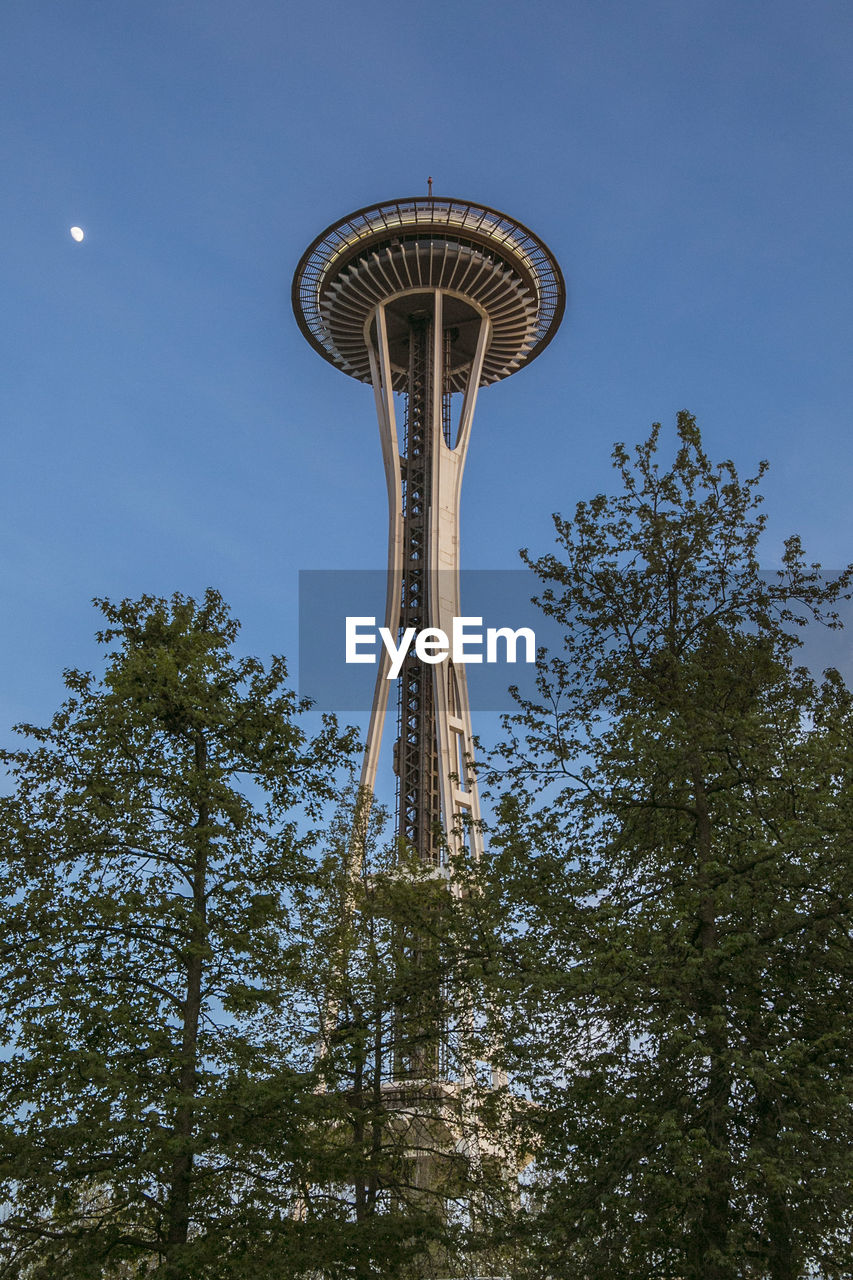 Low Angle View Of Space Needle And Trees Against Clear Blue Sky
