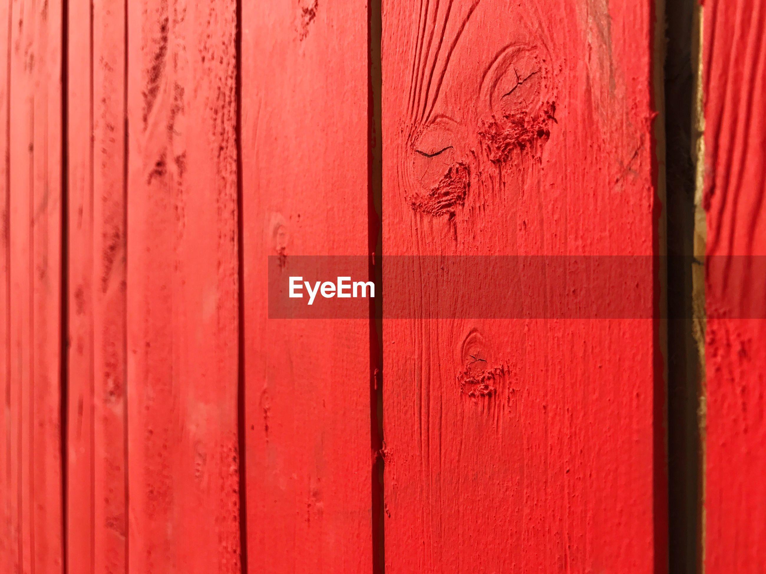 Full frame shot of red wooden planks