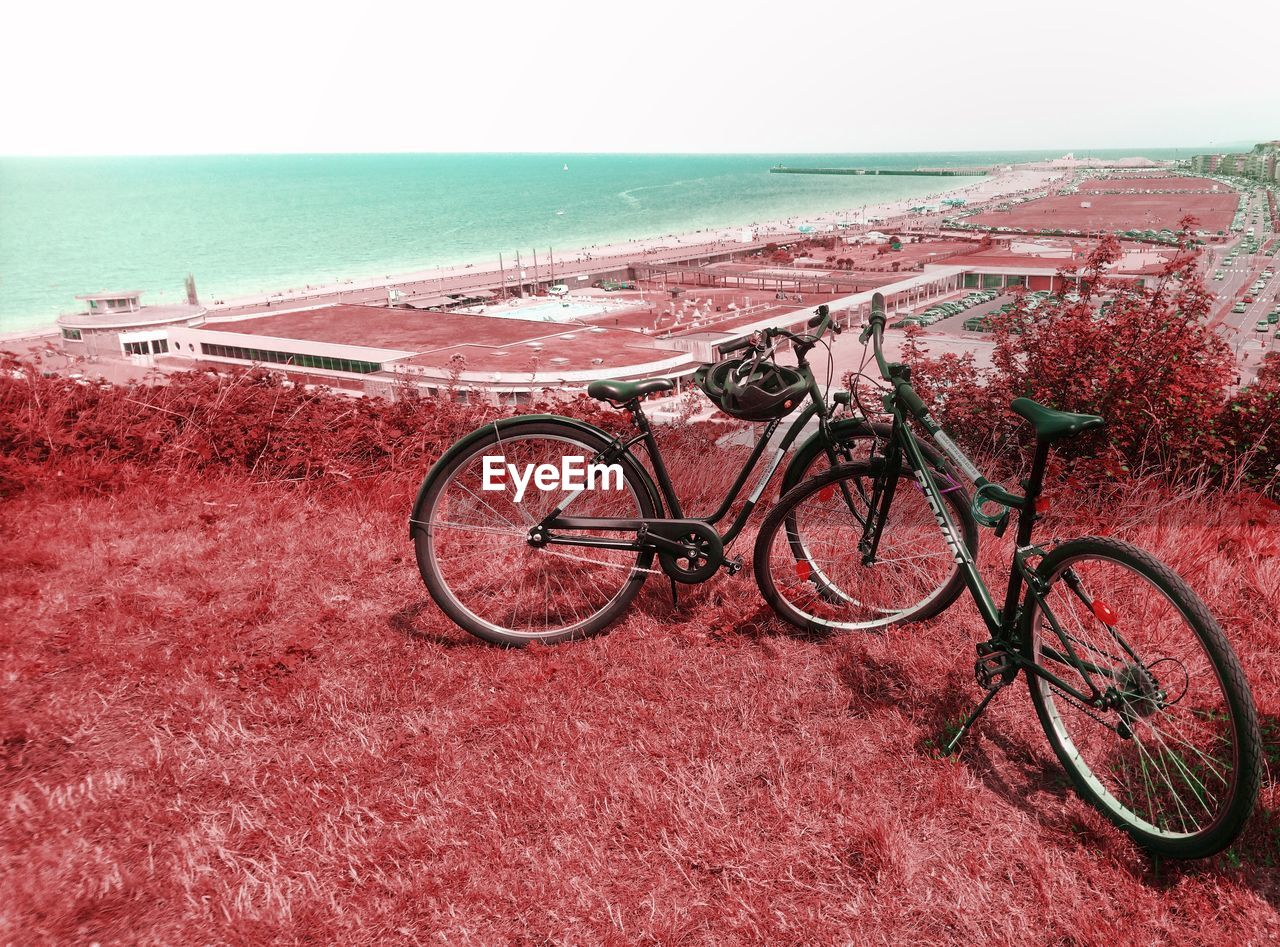 transportation, water, sea, horizon over water, mode of transportation, horizon, bicycle, land, land vehicle, nature, sky, beach, no people, day, scenics - nature, tranquil scene, tranquility, stationary, outdoors, wheel