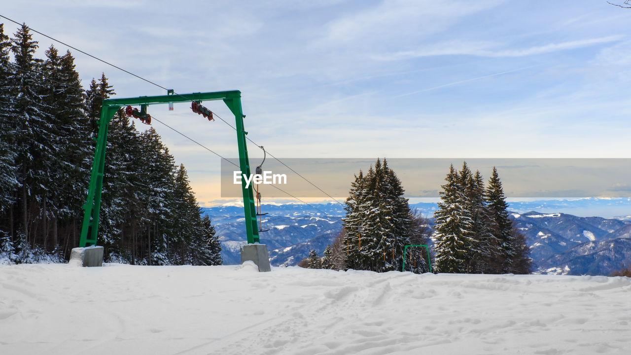 SNOW ON LAND AGAINST SKY