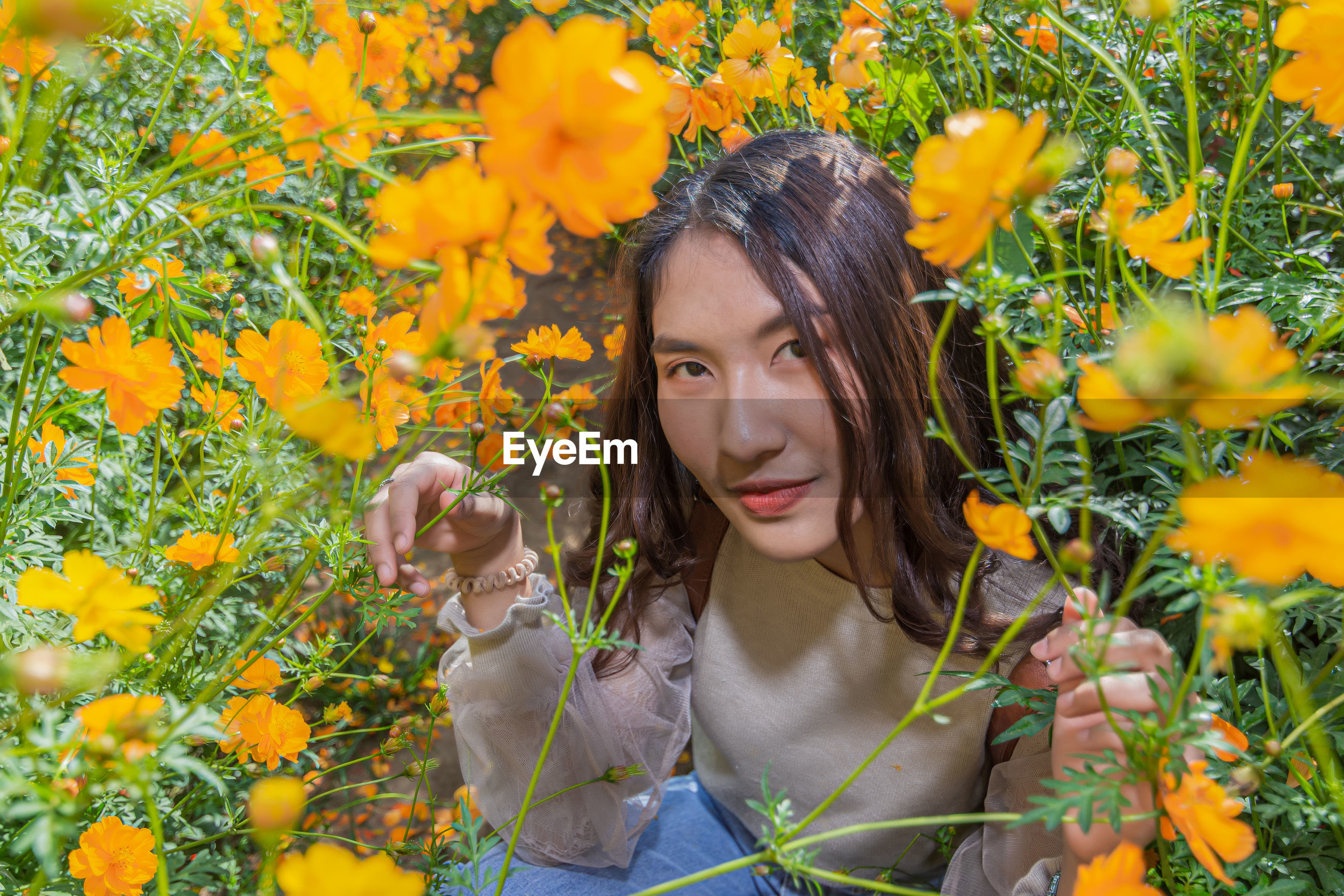 Portrait of woman crouching on land by yellow flowering plants