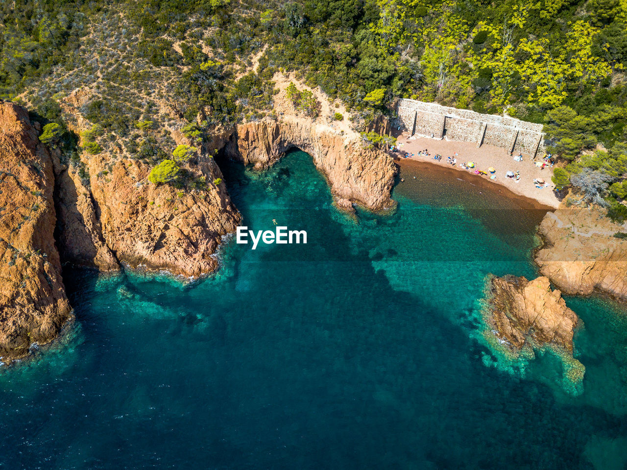water, rock - object, rock, sea, solid, nature, scenics - nature, land, beauty in nature, travel destinations, high angle view, idyllic, turquoise colored, architecture, no people, day, tourism, travel, outdoors