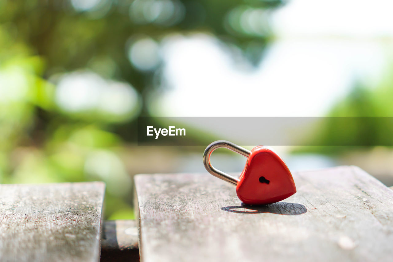 selective focus, red, close-up, wood - material, day, no people, love, positive emotion, outdoors, heart shape, solid, focus on foreground, metal, still life, nature, green color, emotion, ring, jewelry, sunlight, silver colored, personal accessory