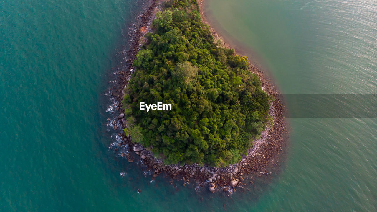 water, sea, no people, high angle view, nature, beauty in nature, land, day, scenics - nature, green color, tranquility, beach, plant, tranquil scene, outdoors, aerial view, island, turquoise colored, coastline