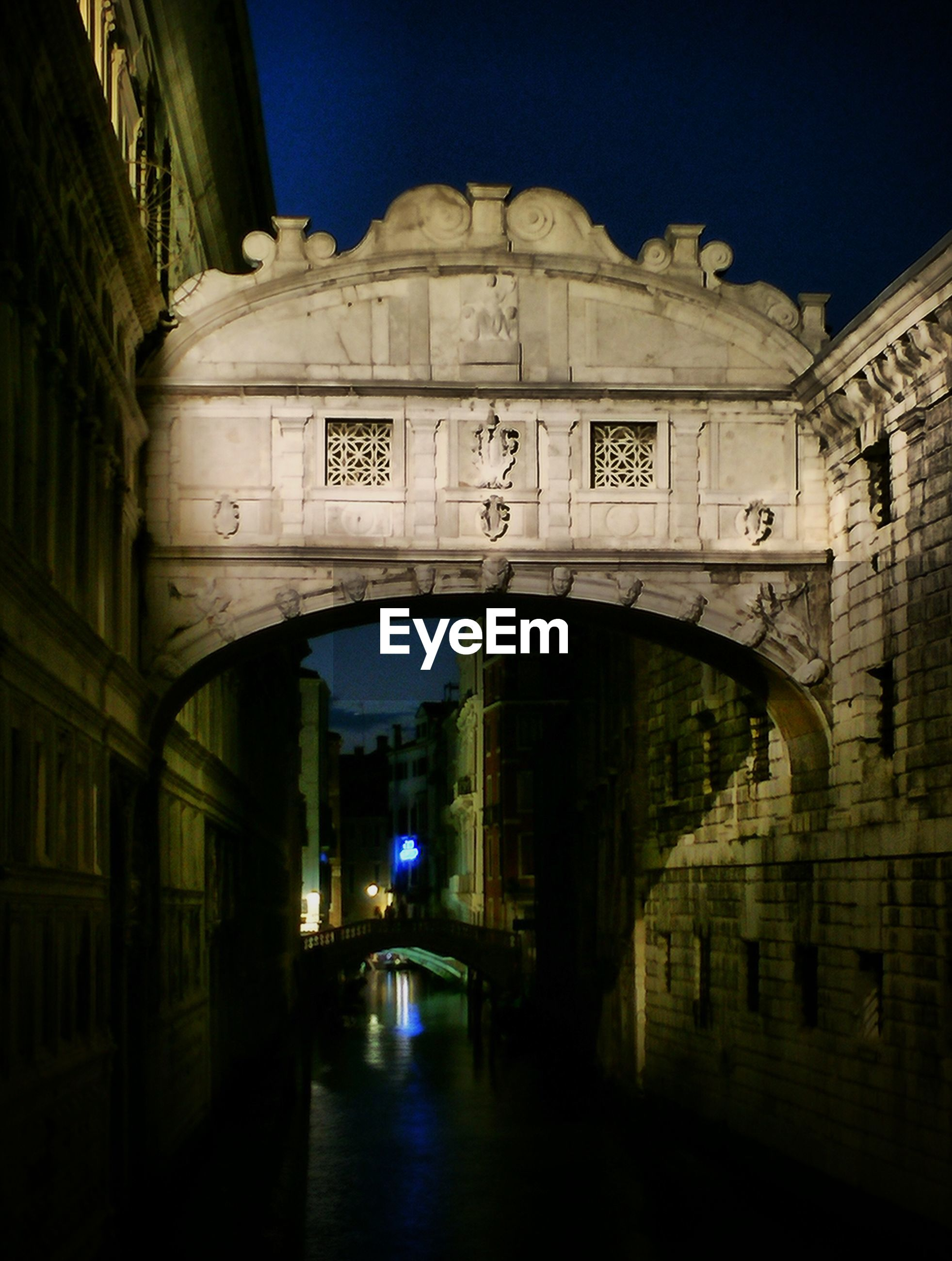 Bridge of sighs over canal at night