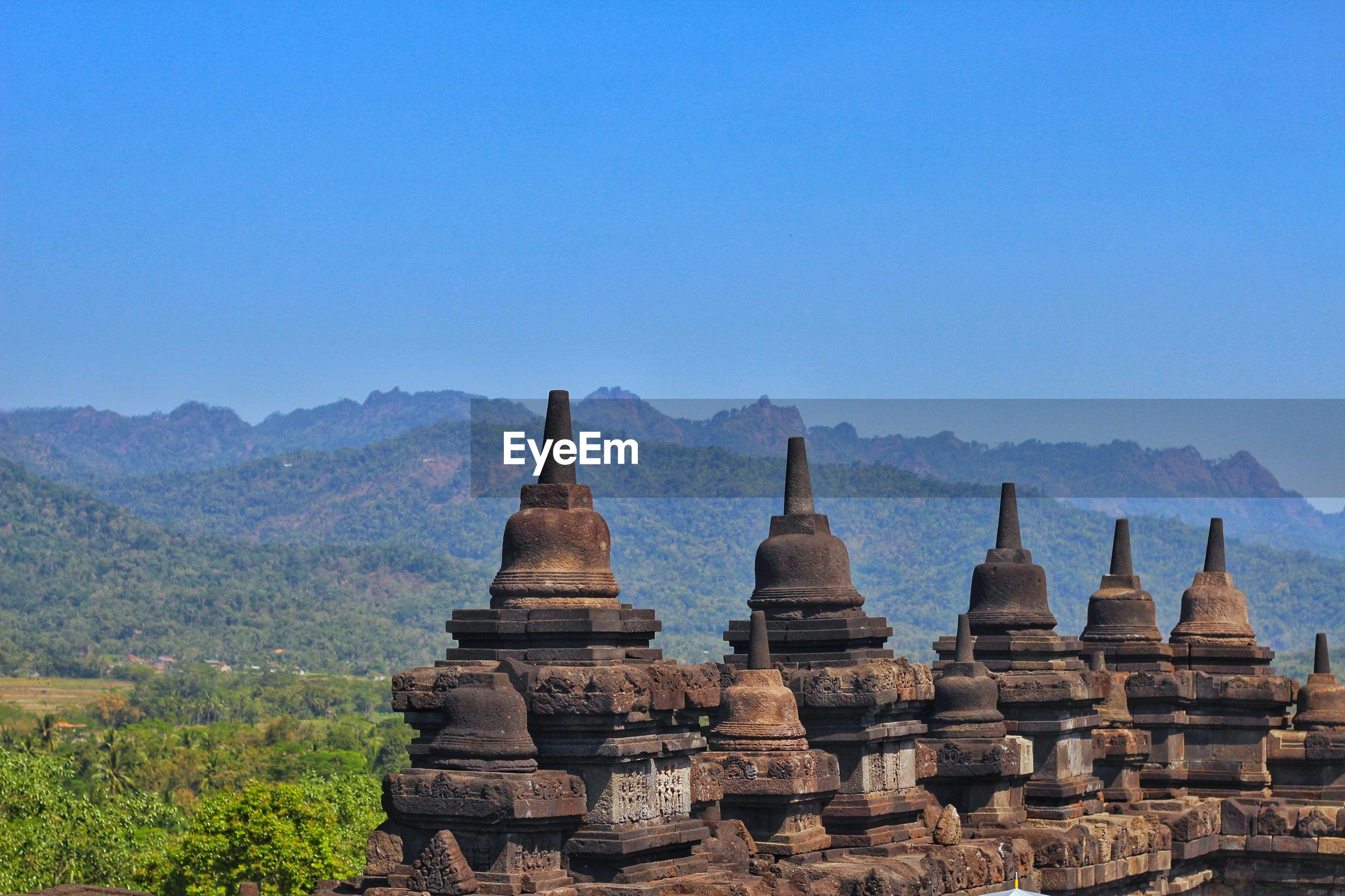 Historic temples against clear sky