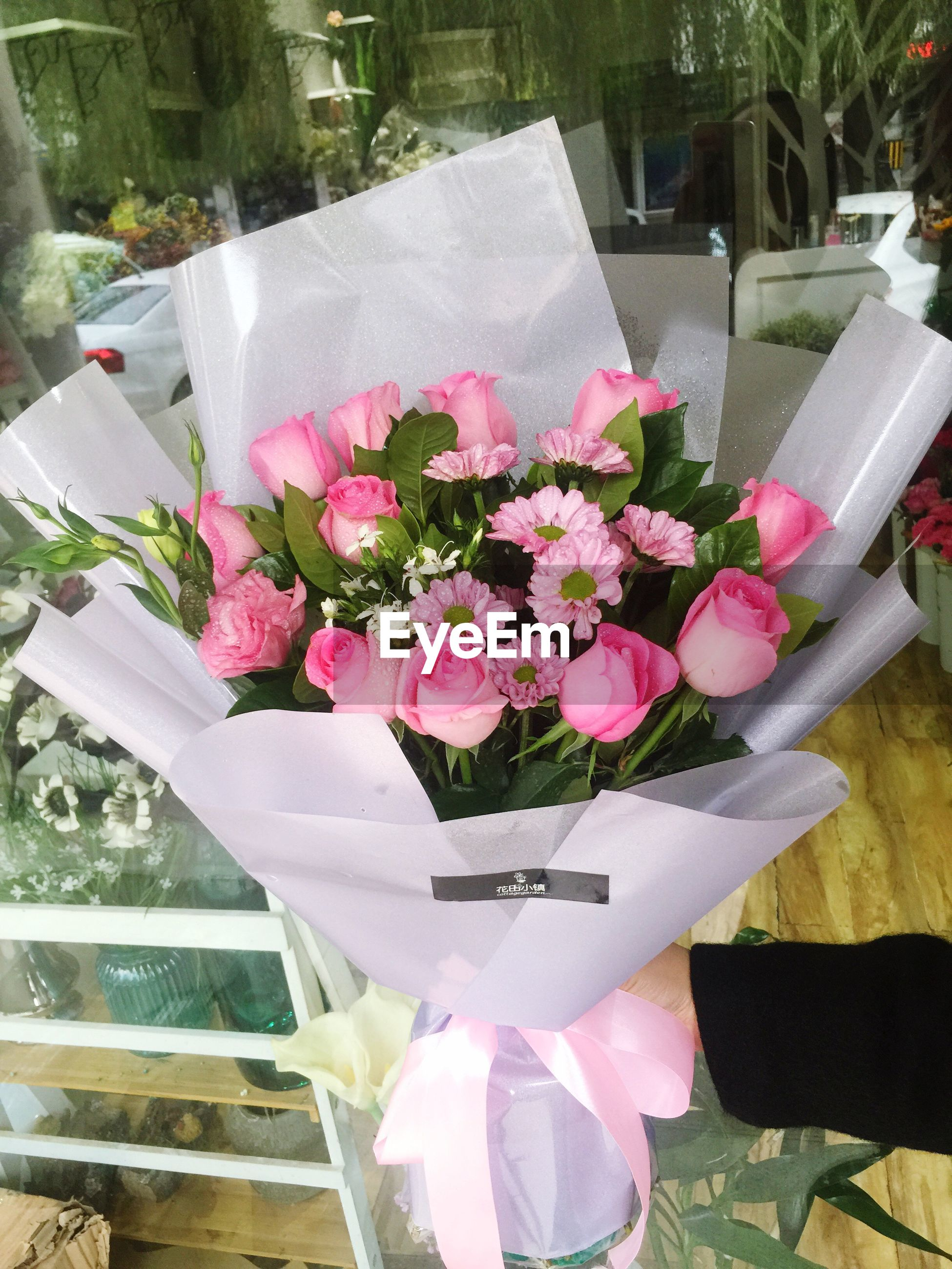 flower, pink color, bouquet, no people, flower arrangement, high angle view, freshness, petal, outdoors, close-up, nature, table, day, gift, flower head, wedding reception