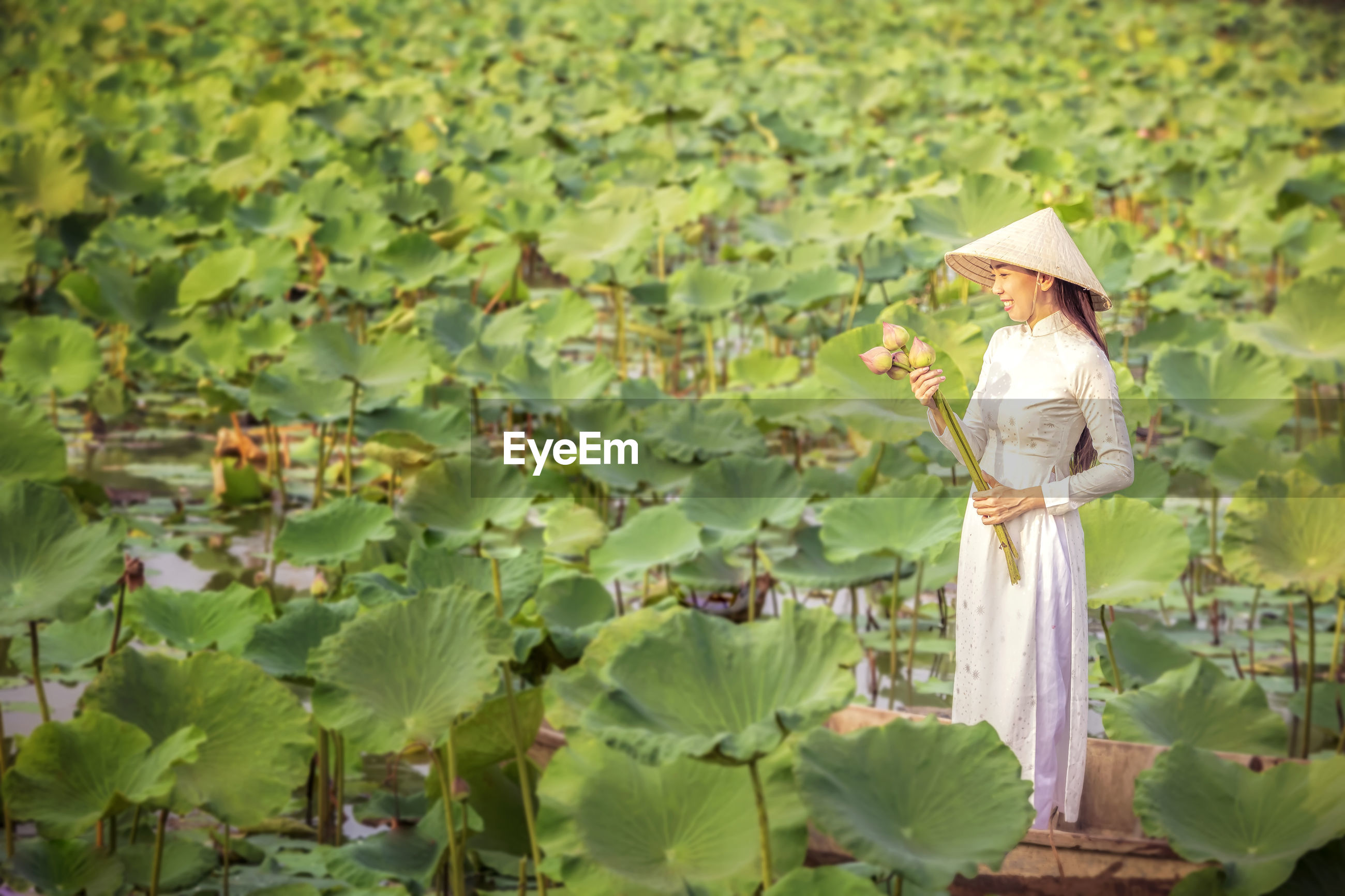 Woman holding lotus water lilies while standing on rowboat in pond