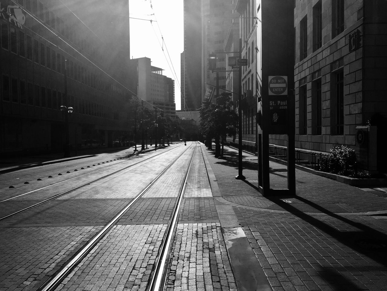 Railroad Tracks On City Street