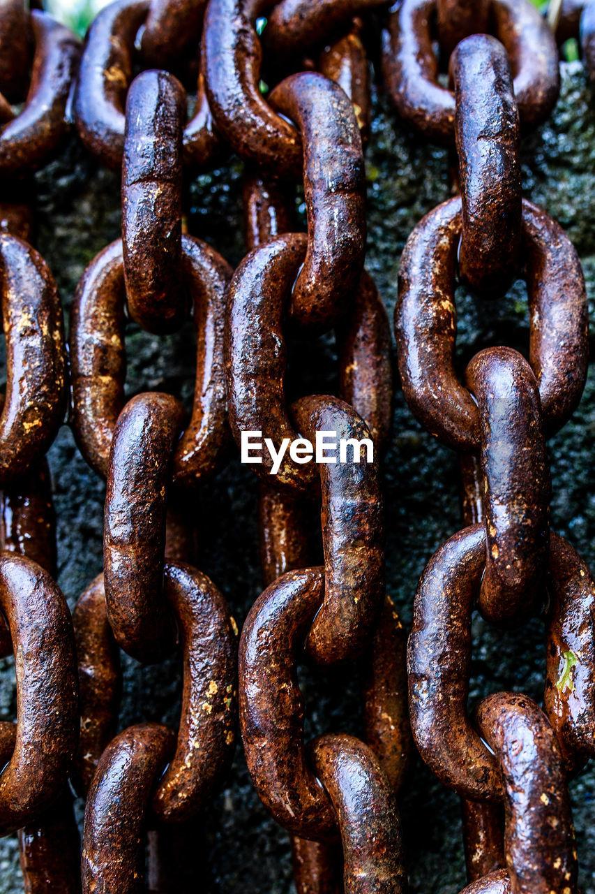 Full frame shot of metallic chains