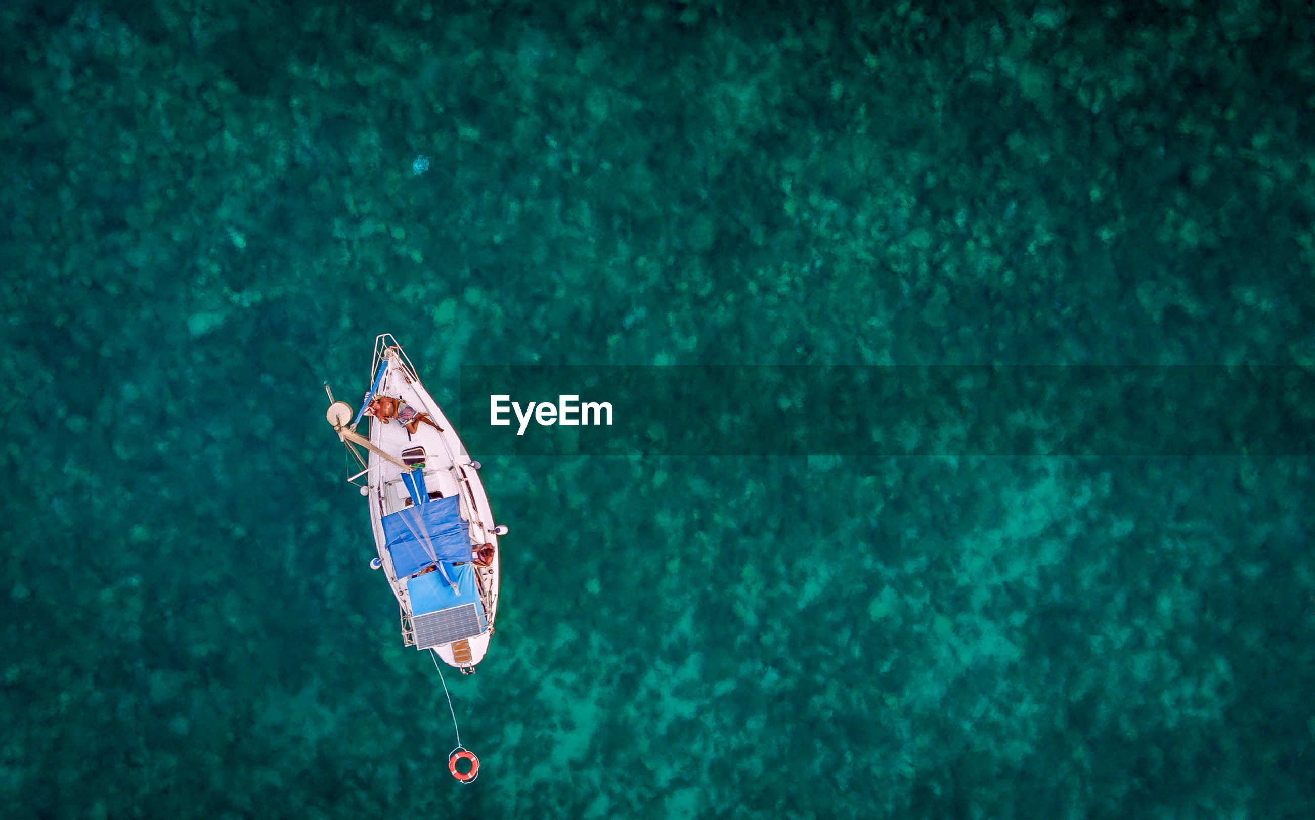 Directly above shot of man in boat on sea