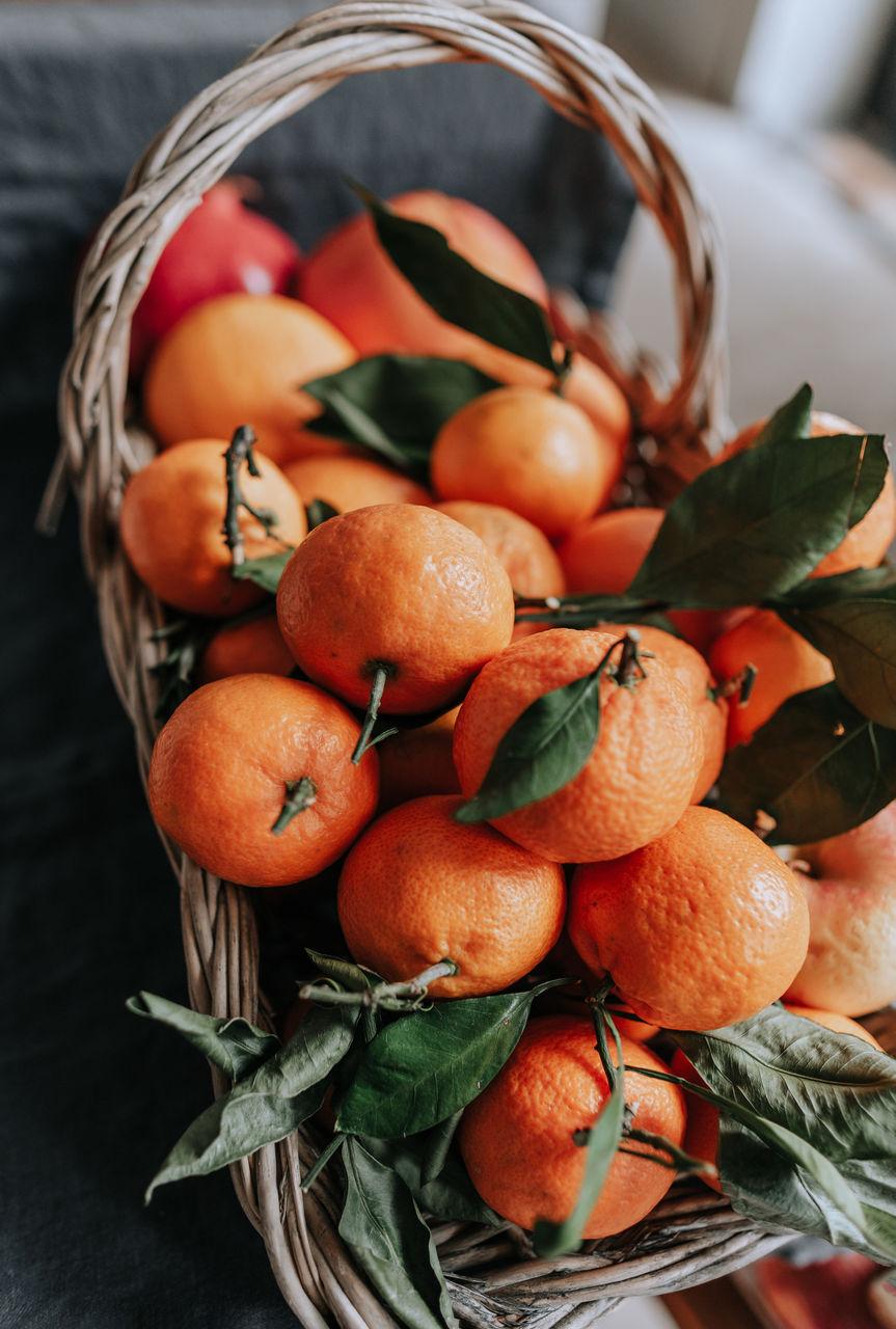 Tangerines in the basket.