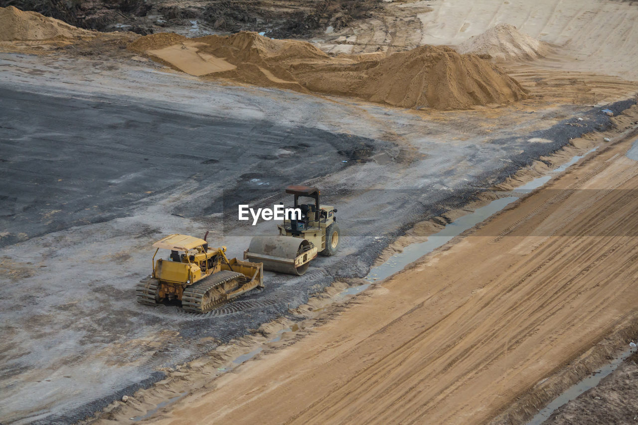High angle view of construction vehicles at site