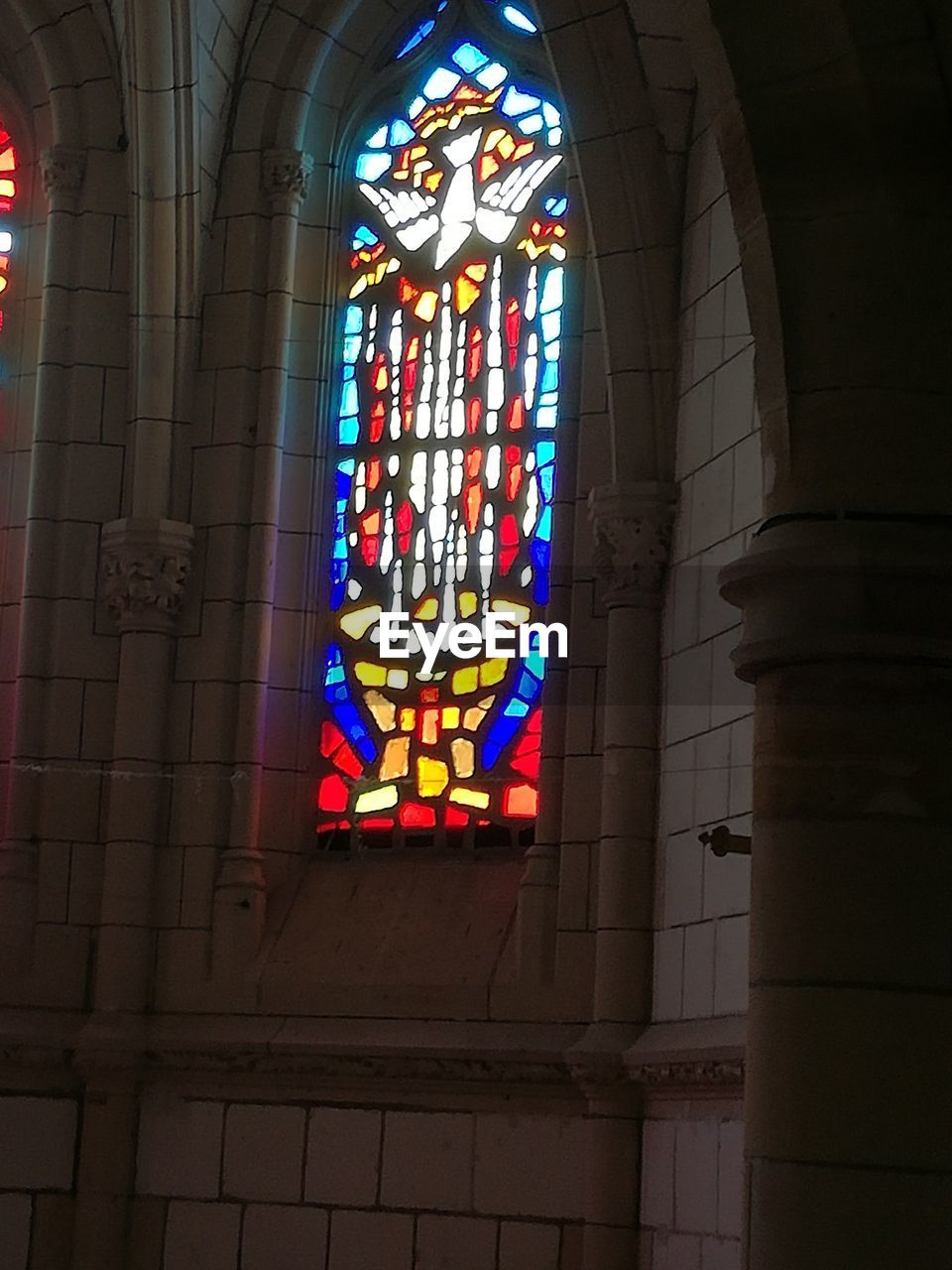 stained glass, religion, window, place of worship, spirituality, multi colored, indoors, architecture, built structure, no people, day