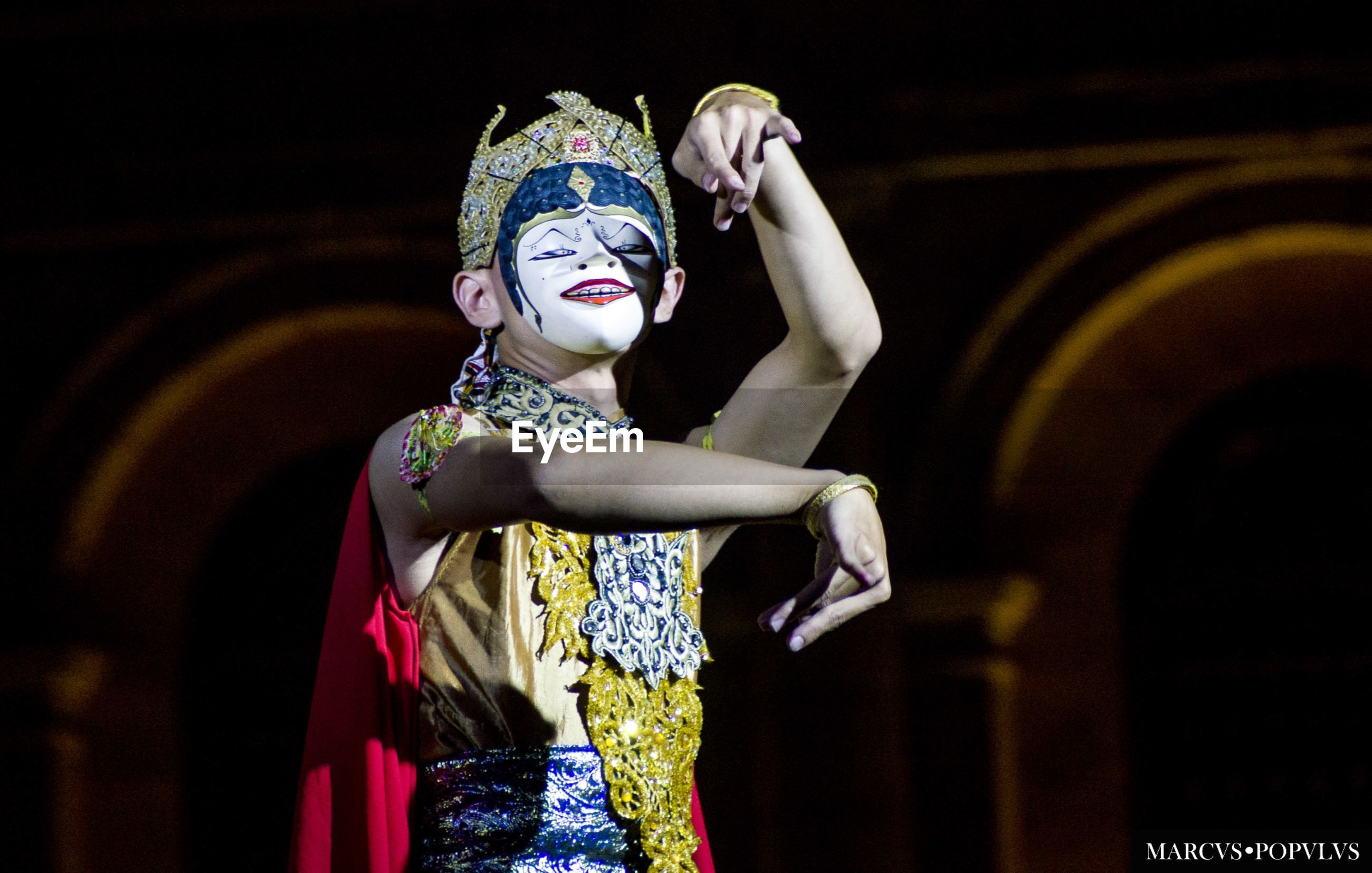 costume, human representation, focus on foreground, indoors, tradition, performance, statue, one person, performing arts event, multi colored, real people, night