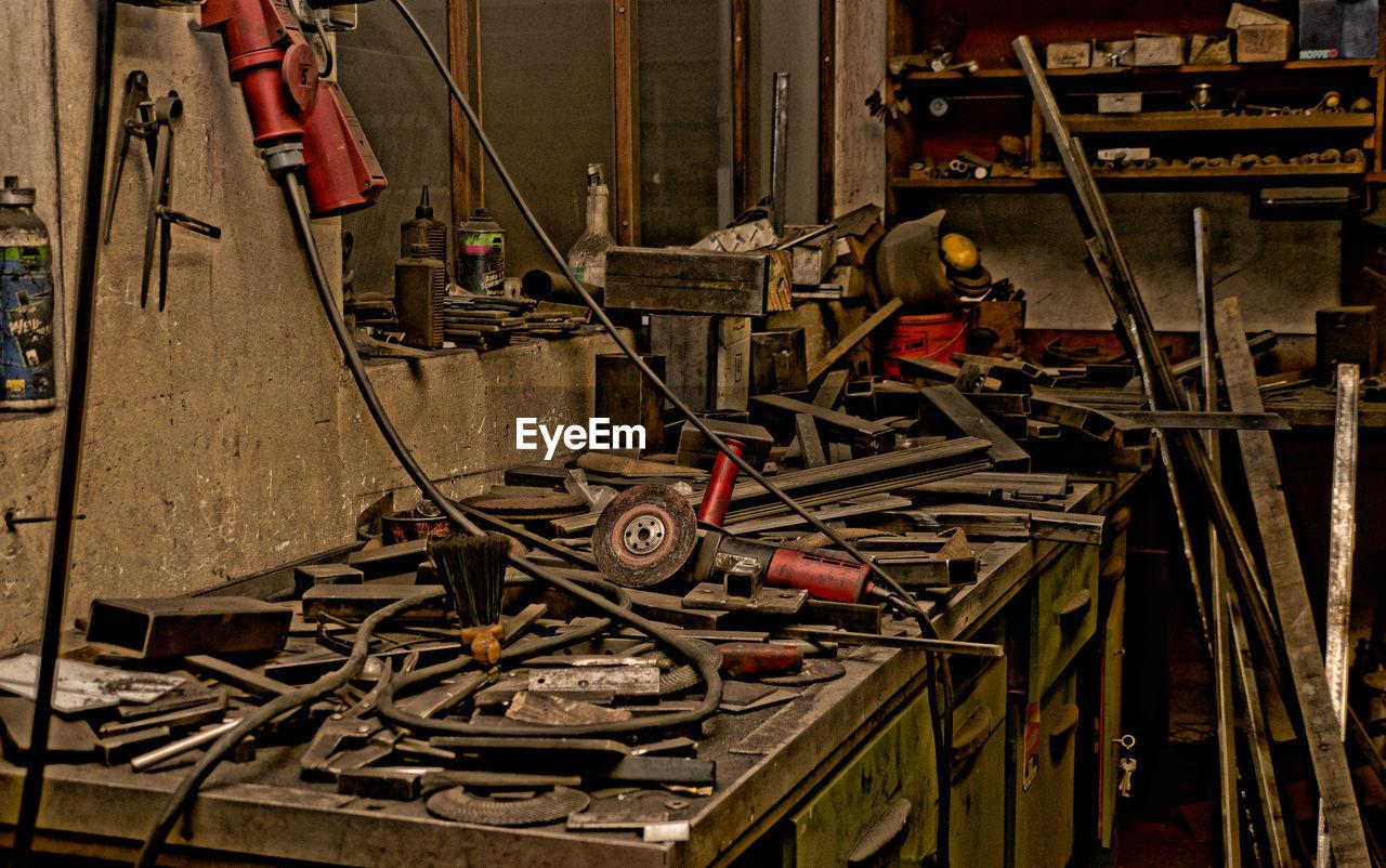 Old tools at locksmith workshop