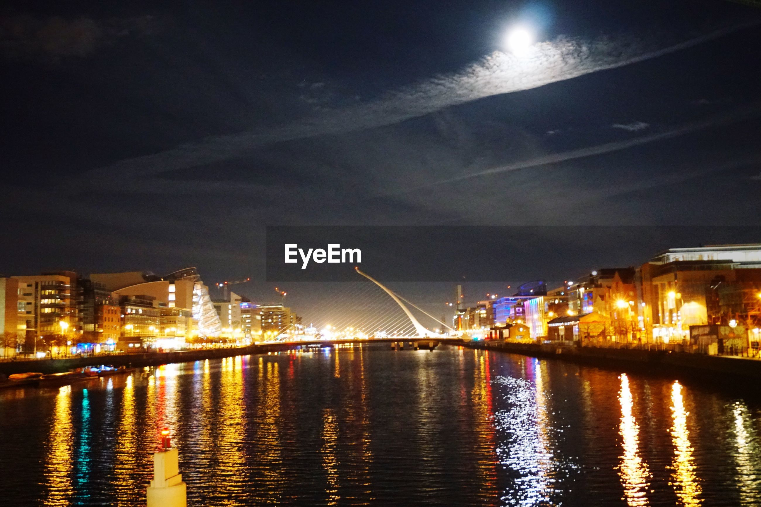 night, illuminated, city, sky, bridge - man made structure, architecture, river, cityscape, star - space, cloud - sky, astronomy, building exterior, moon, outdoors, water, connection, no people, urban skyline, midnight