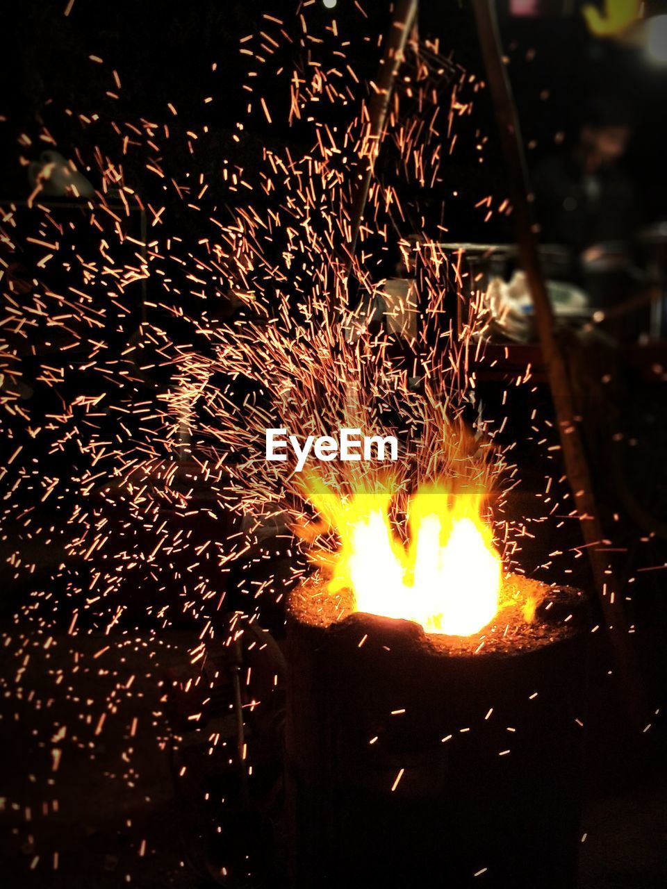 Close-Up Of Fire At Night