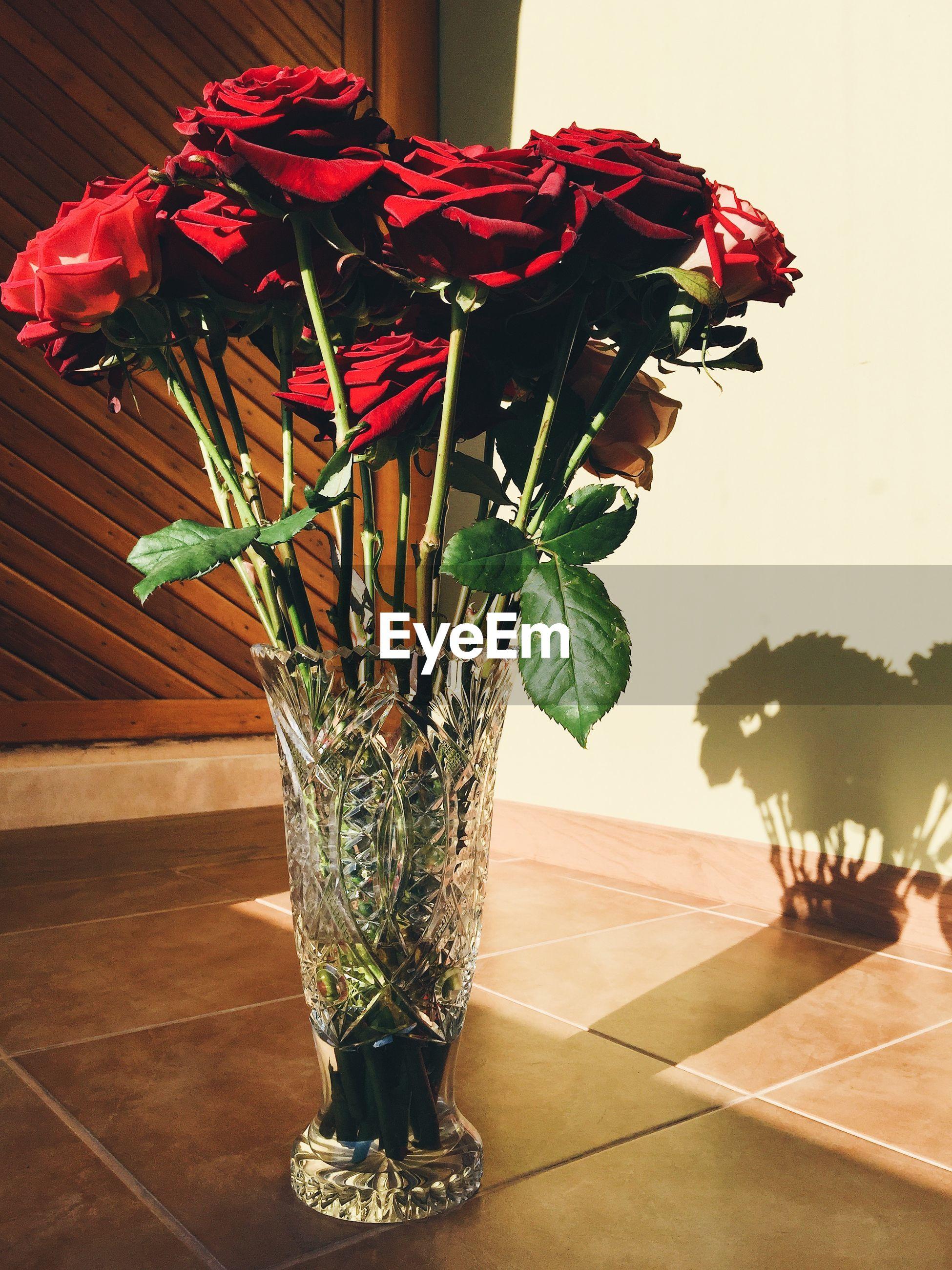 Sunlight falling on rose vase on floor at home