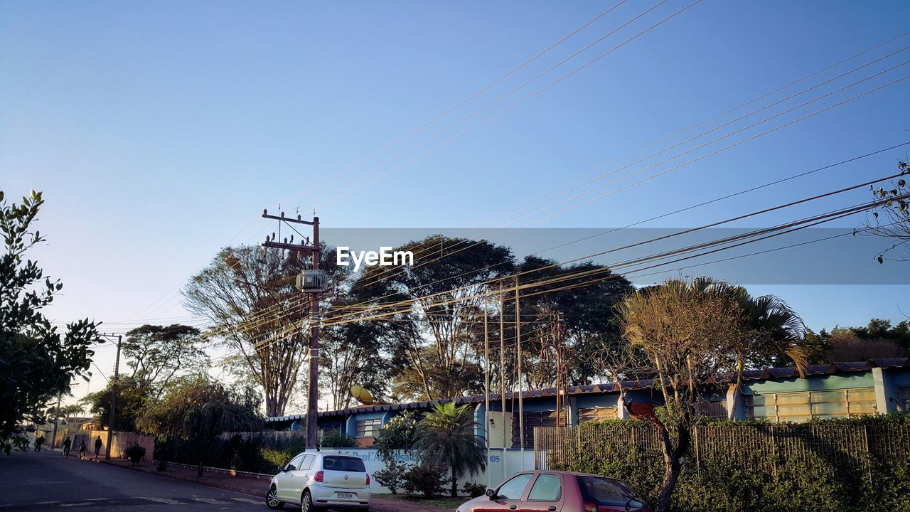 tree, cable, power line, electricity, electricity pylon, power supply, transportation, connection, outdoors, day, car, sky, built structure, no people, clear sky, nature, technology, building exterior, architecture, telephone line