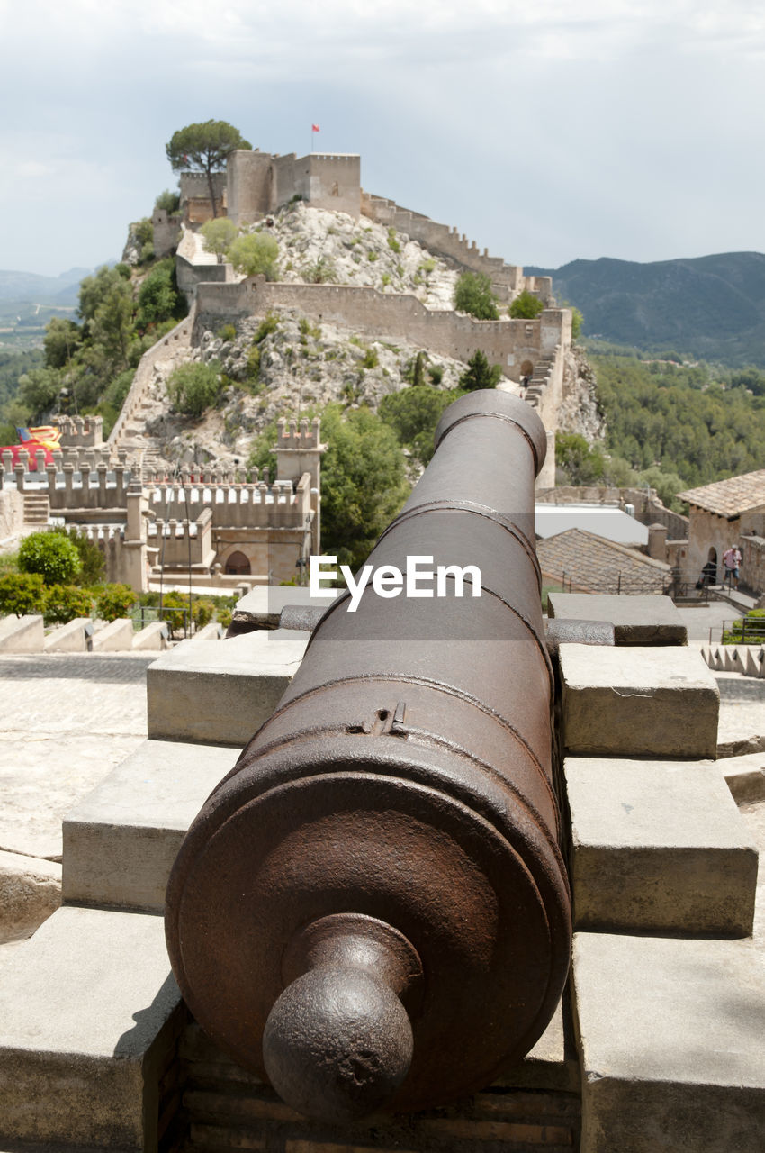 architecture, the past, history, built structure, building exterior, cannon, fort, weapon, day, nature, old, sky, building, travel destinations, mountain, fortified wall, city, outdoors, no people, metal, ancient civilization
