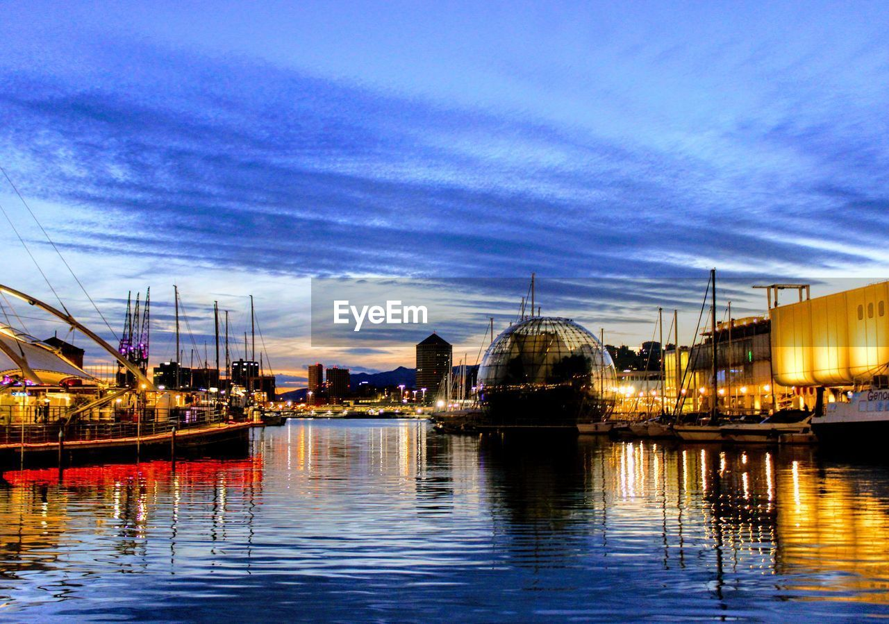 water, sky, reflection, built structure, waterfront, architecture, cloud - sky, illuminated, building exterior, travel destinations, dusk, nautical vessel, sunset, outdoors, transportation, no people, nature, vacations, sea, night